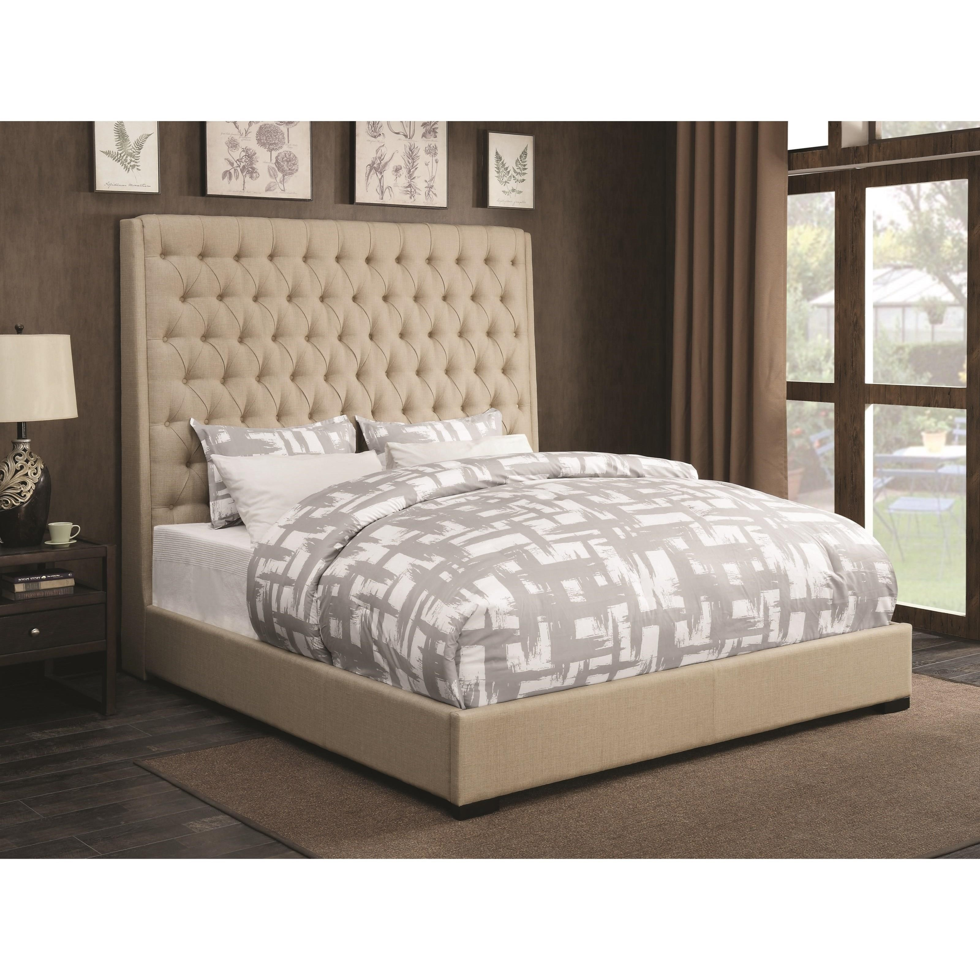 Coaster Upholstered Beds Upholstered California King Bed With Diamond Tufting A1 Furniture Mattress Upholstered Beds