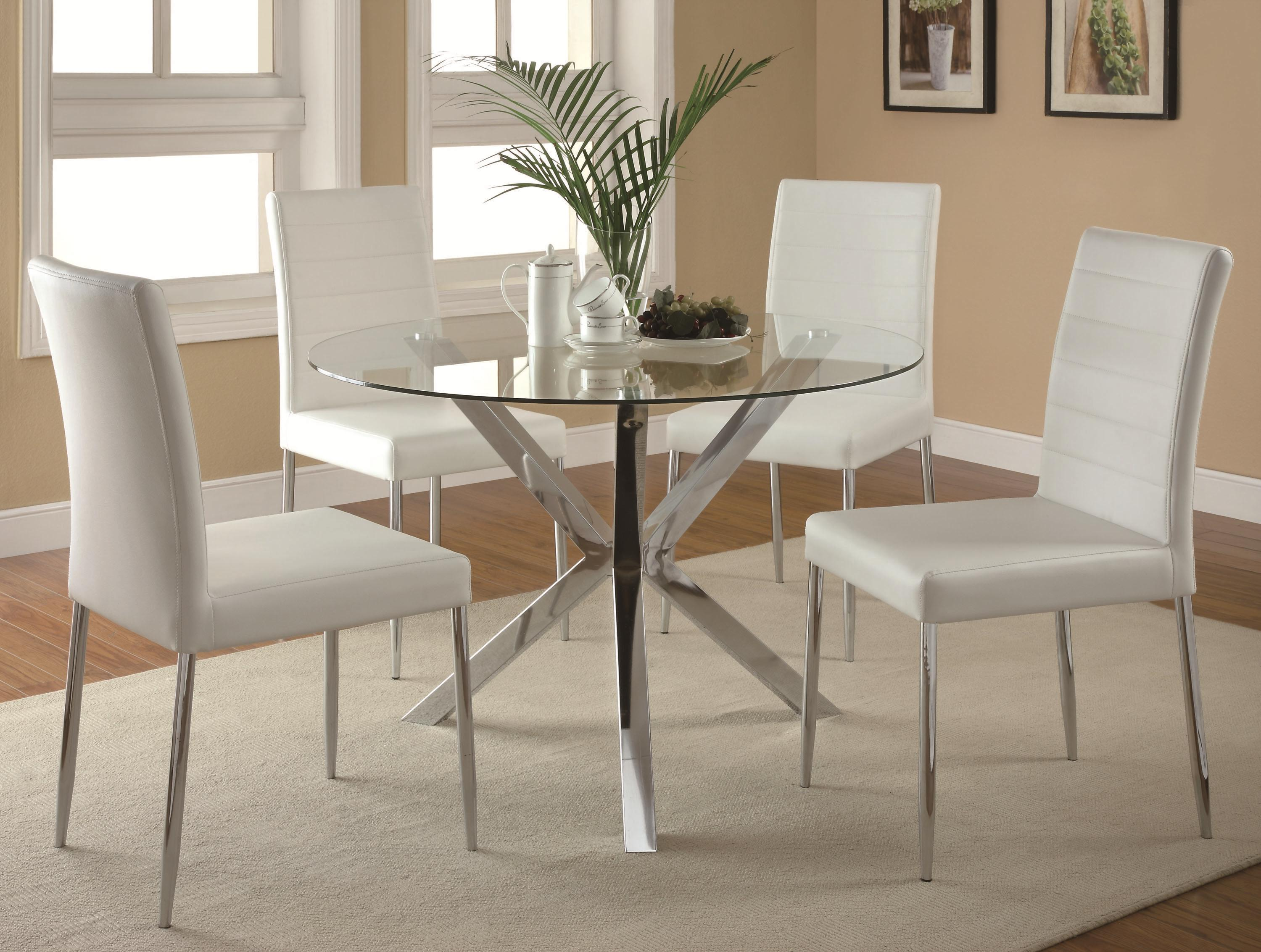 Glass Dining Table And Chairs Vance Contemporary 5 Piece Glass Top Table And Chair Set By Coaster At Dunk Bright Furniture
