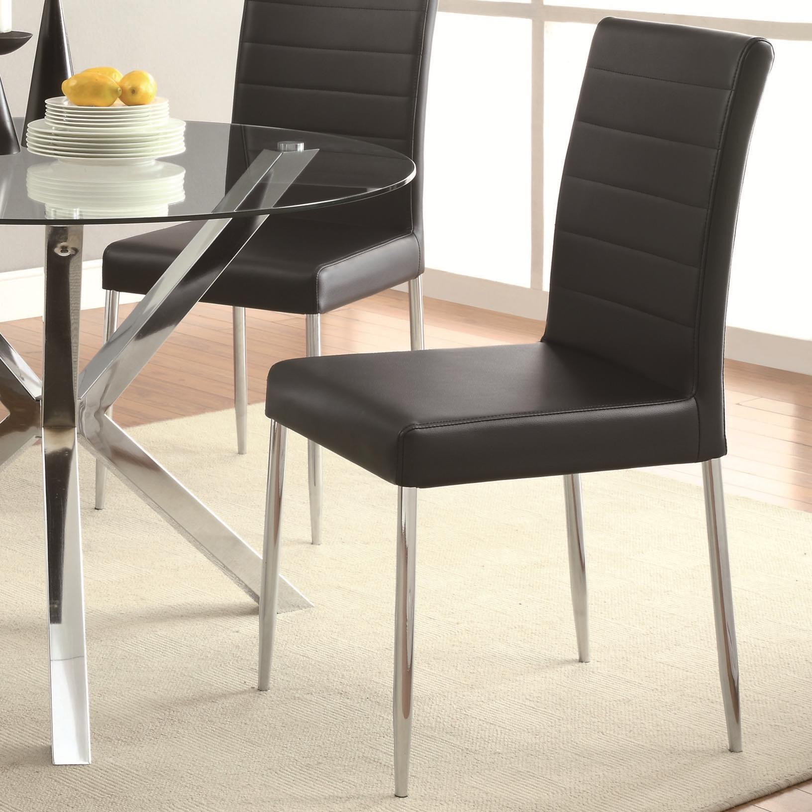Coaster Vance 120767blk Contemporary Dining Chair With Black Vinyl Seat Cushion Corner Furniture Dining Side Chairs