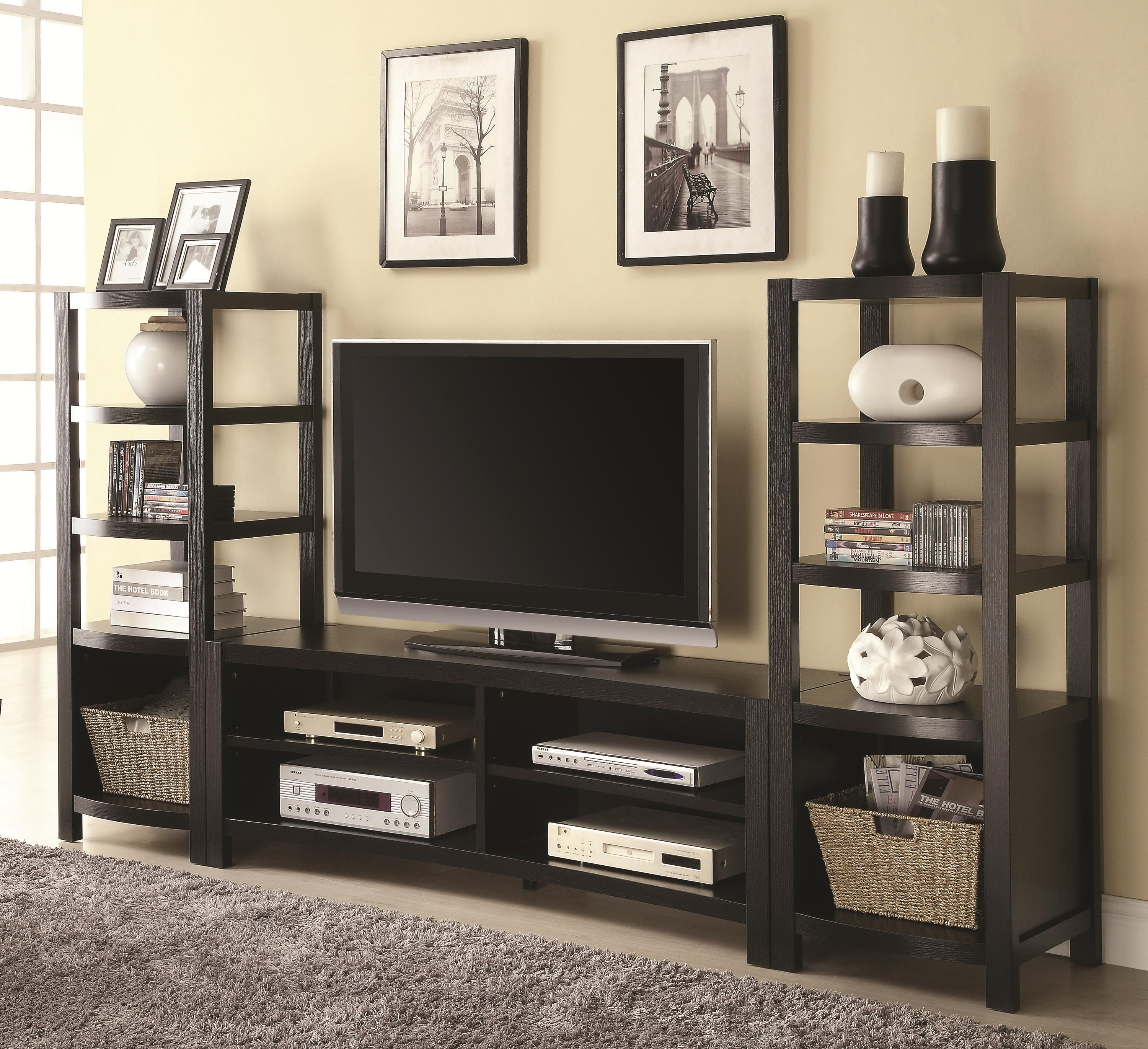 Tv Units Entertainment Units Curved Front Tv Console 2 Media Towers By Coaster At Dunk Bright Furniture