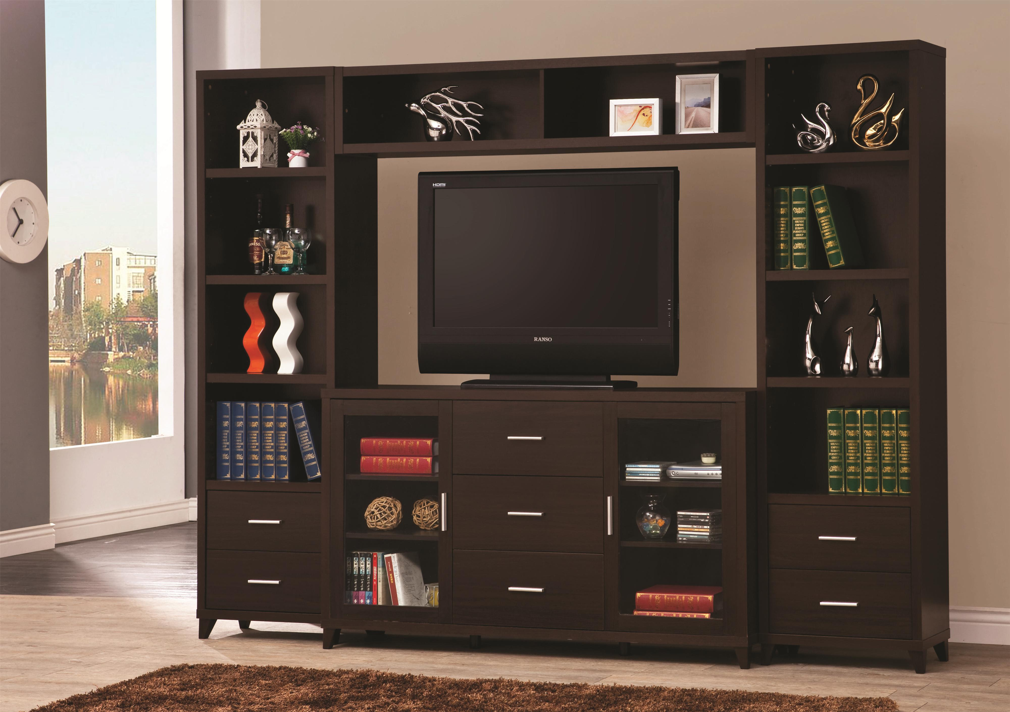 Tv Units Entertainment Units Cappuccino Entertainment Wall Unit By Coaster At Value City Furniture
