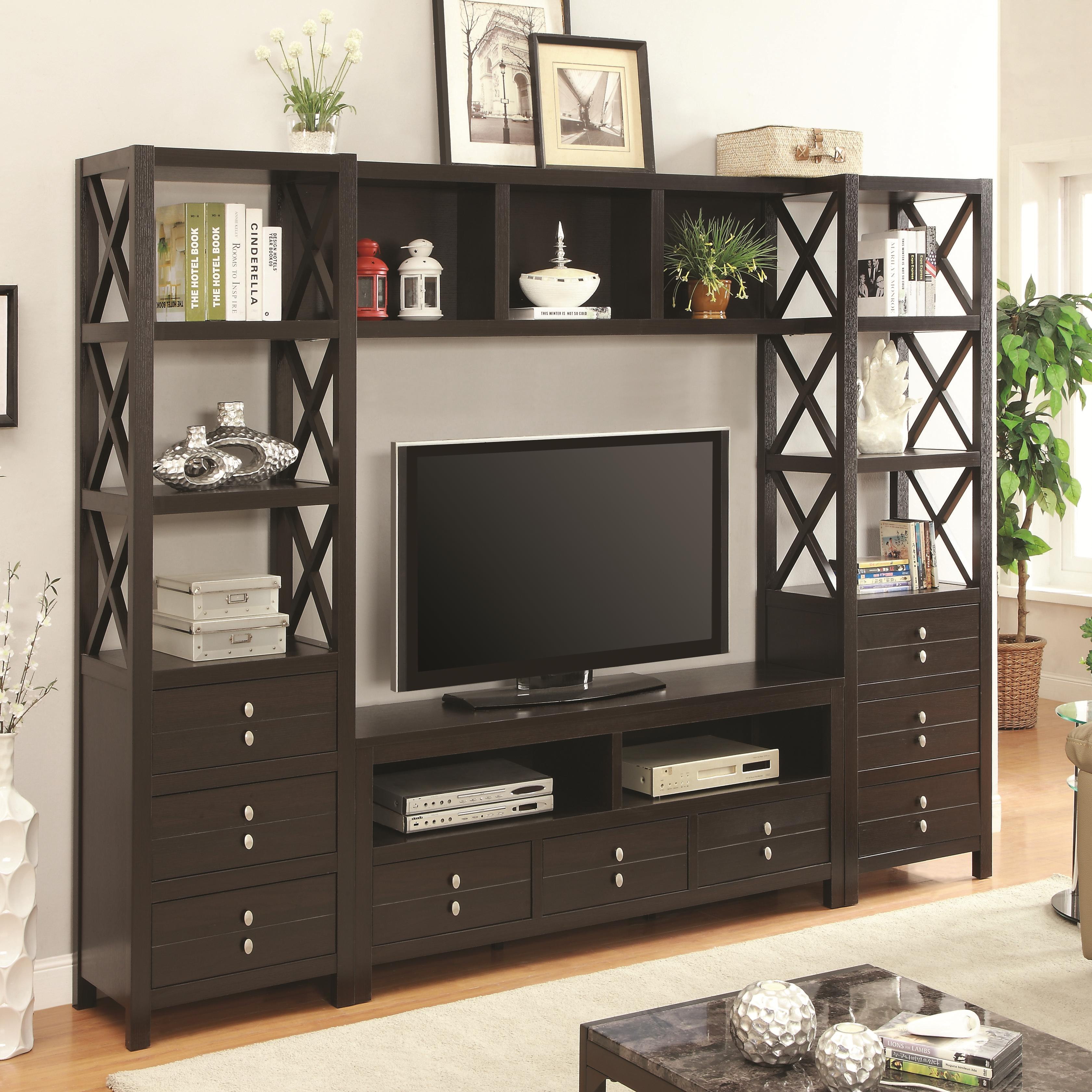 Tv Units Entertainment Units Entertainment Wall Unit With 9 Drawers And 9 Shelves By Coaster At Northeast Factory Direct