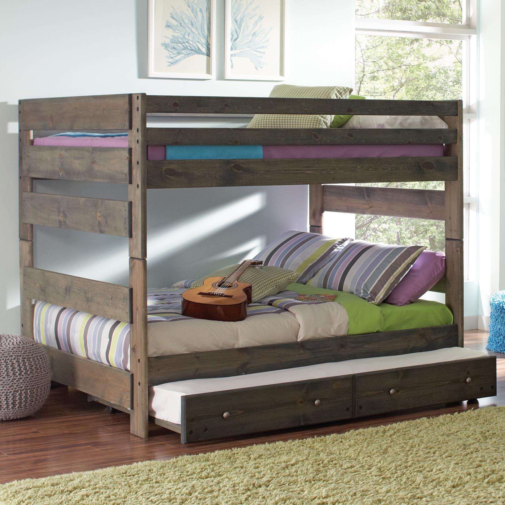 Childrens Beds With Pull Out Bed Underneath Wrangle Hill Full Over Full Bunk Bed With Pull Out Trundle By Coaster At Dunk Bright Furniture