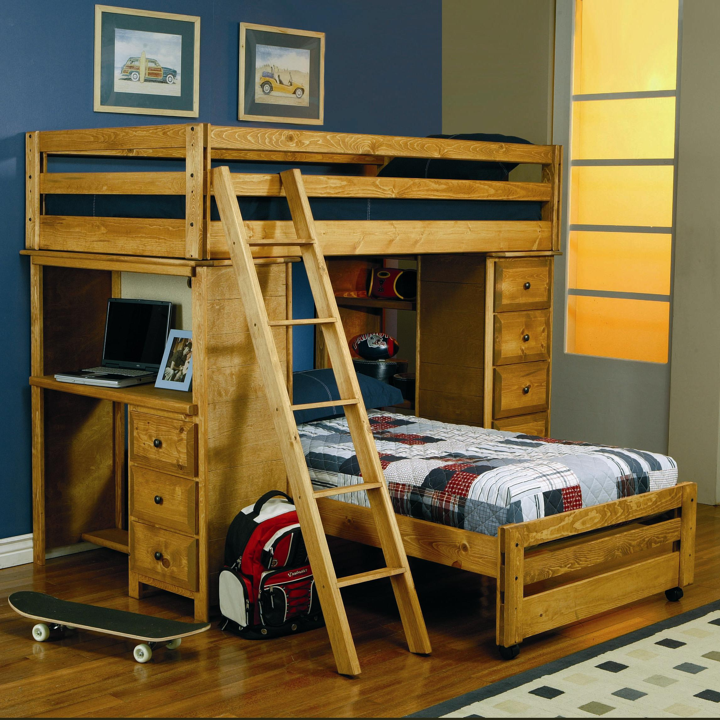 Bed With Desk Wrangle Hill Twin Over Twin Loft Bed With Built In Desk By Coaster At Dunk Bright Furniture