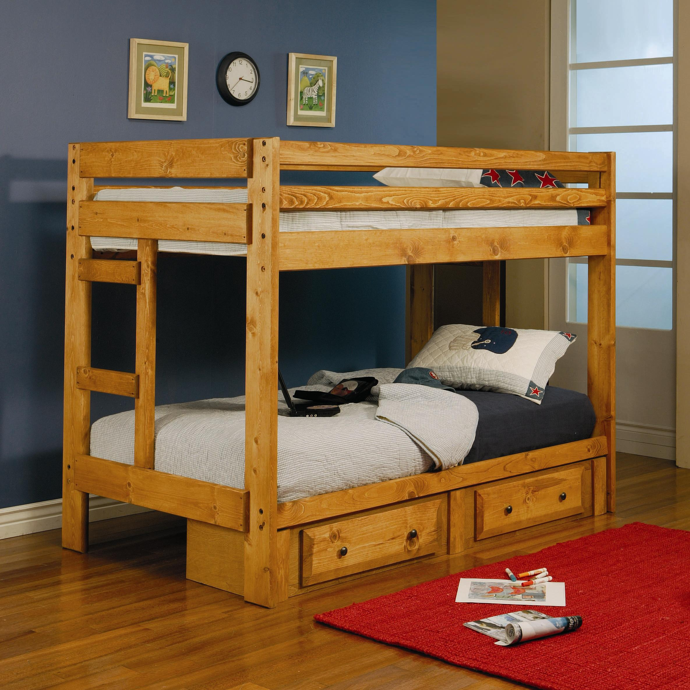 Under Bed Storage Frame Wrangle Hill Twin Over Twin Bunk Bed With Built In Ladders By Coaster At Prime Brothers Furniture