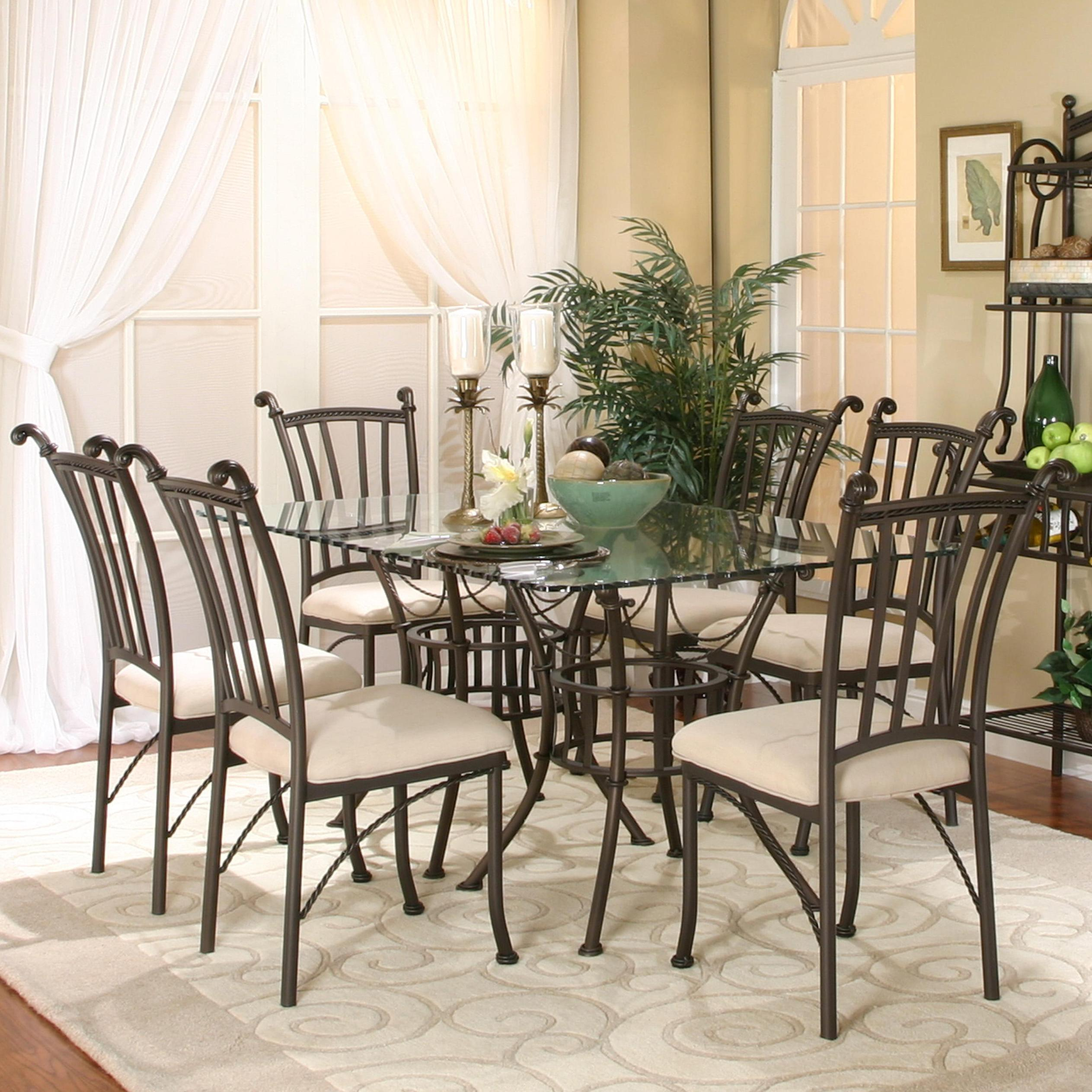 Glass Dining Table And Chairs Denali 7 Piece Rectangular Glass Table With Chairs By Cramco Inc