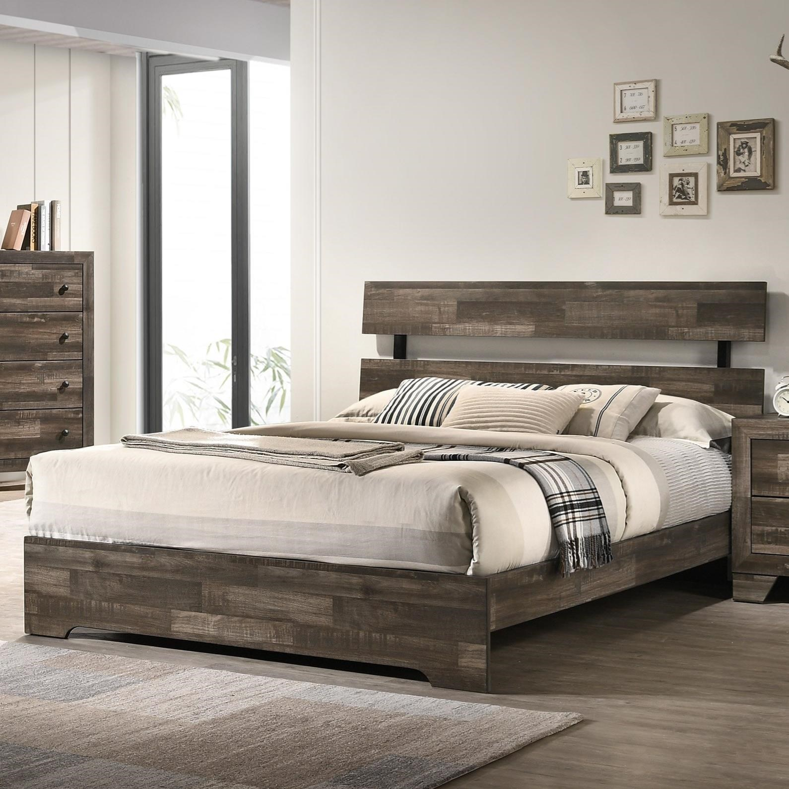 Crown Mark Atticus Rustic California King Bed | Royal Furniture | Platform Beds/Low Profile Beds