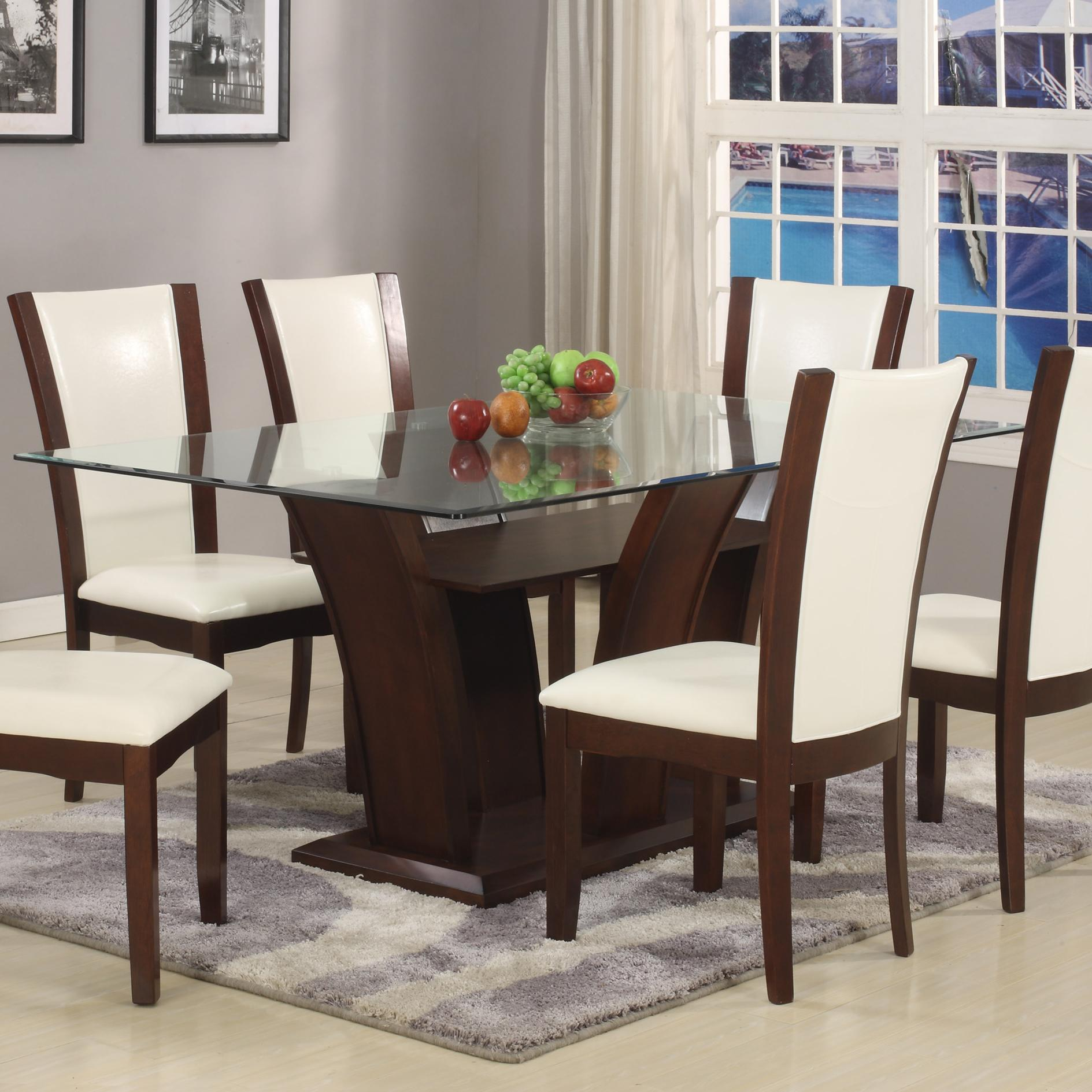 Glass Dining Table And Chairs Camelia White Rectangular Dining Table With Glass Top By Crown Mark At Royal Furniture