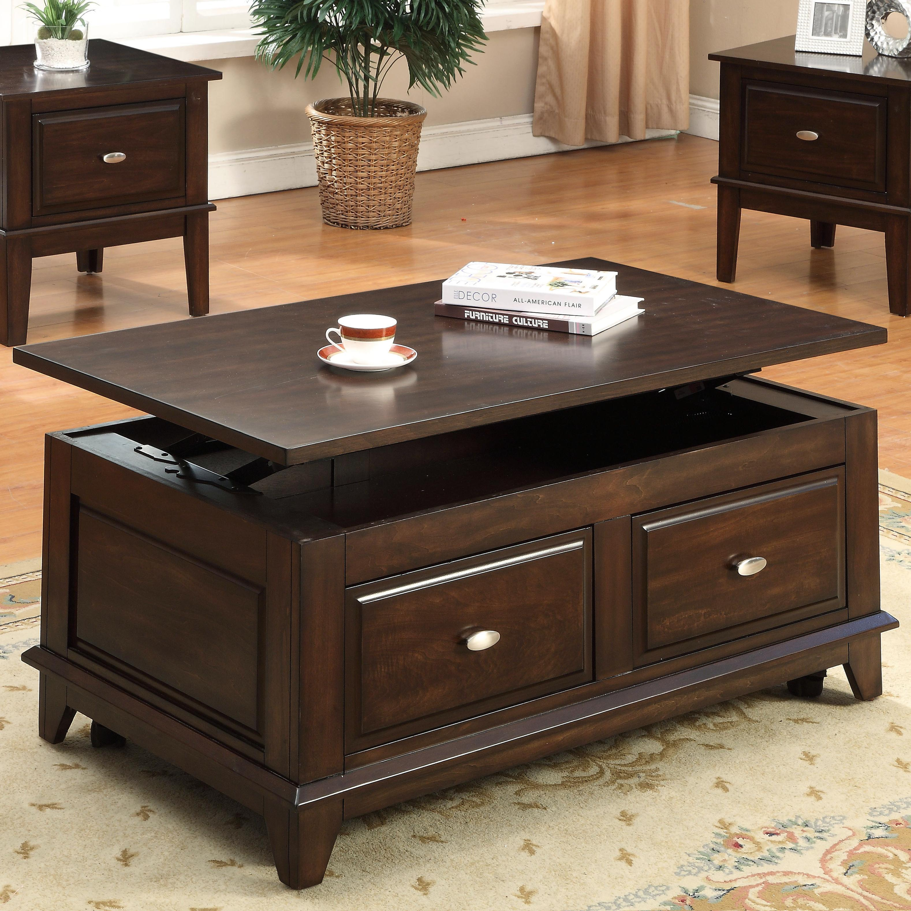 Coffee And End Tables With Storage Harmon Lift Top Coffee Table With Casters By Crown Mark At Household Furniture