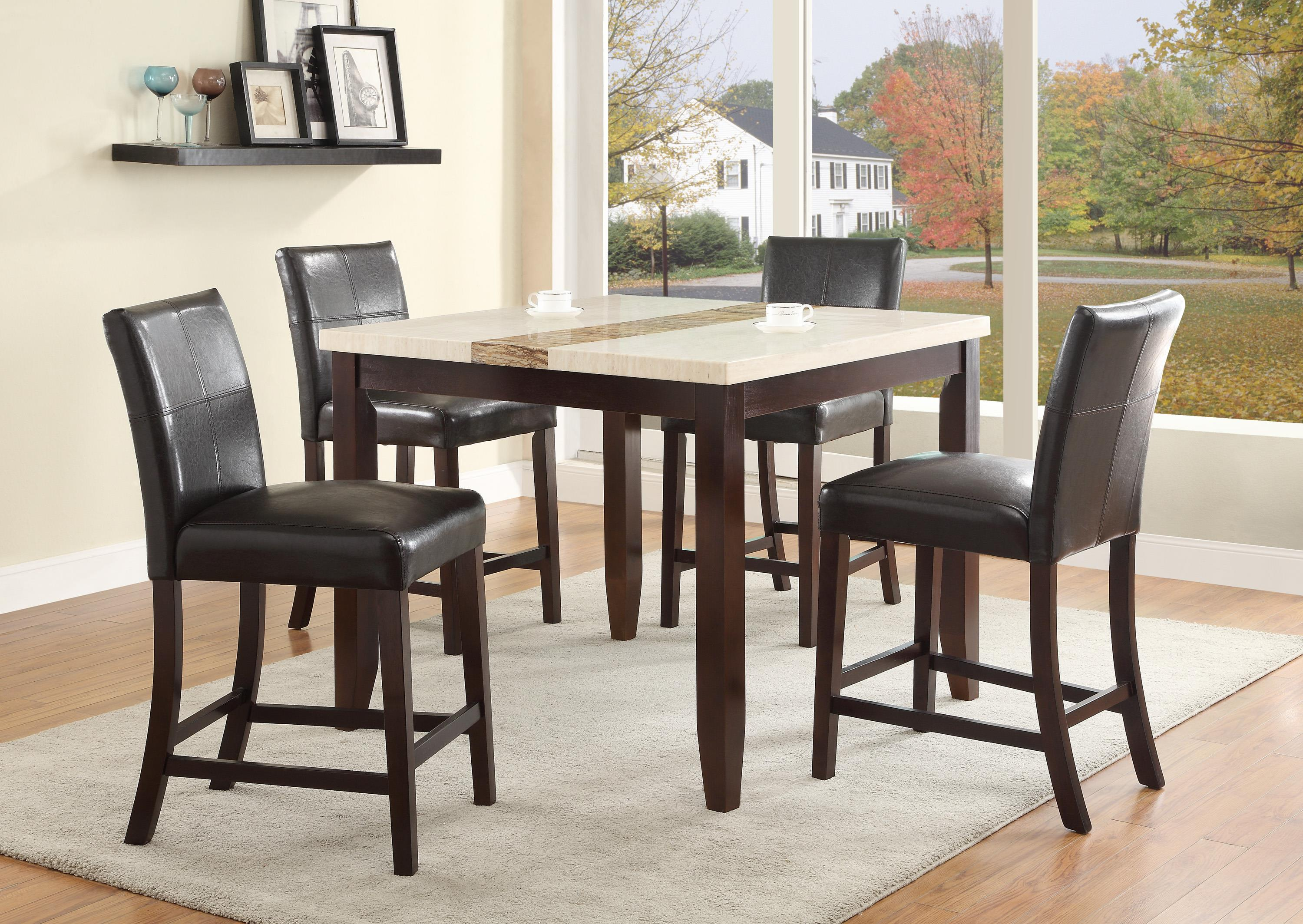 Glass Dining Table And Chairs Larissa 5 Piece Counter Height Table Set With Upholstered Side Chairs By Crown Mark At Royal Furniture