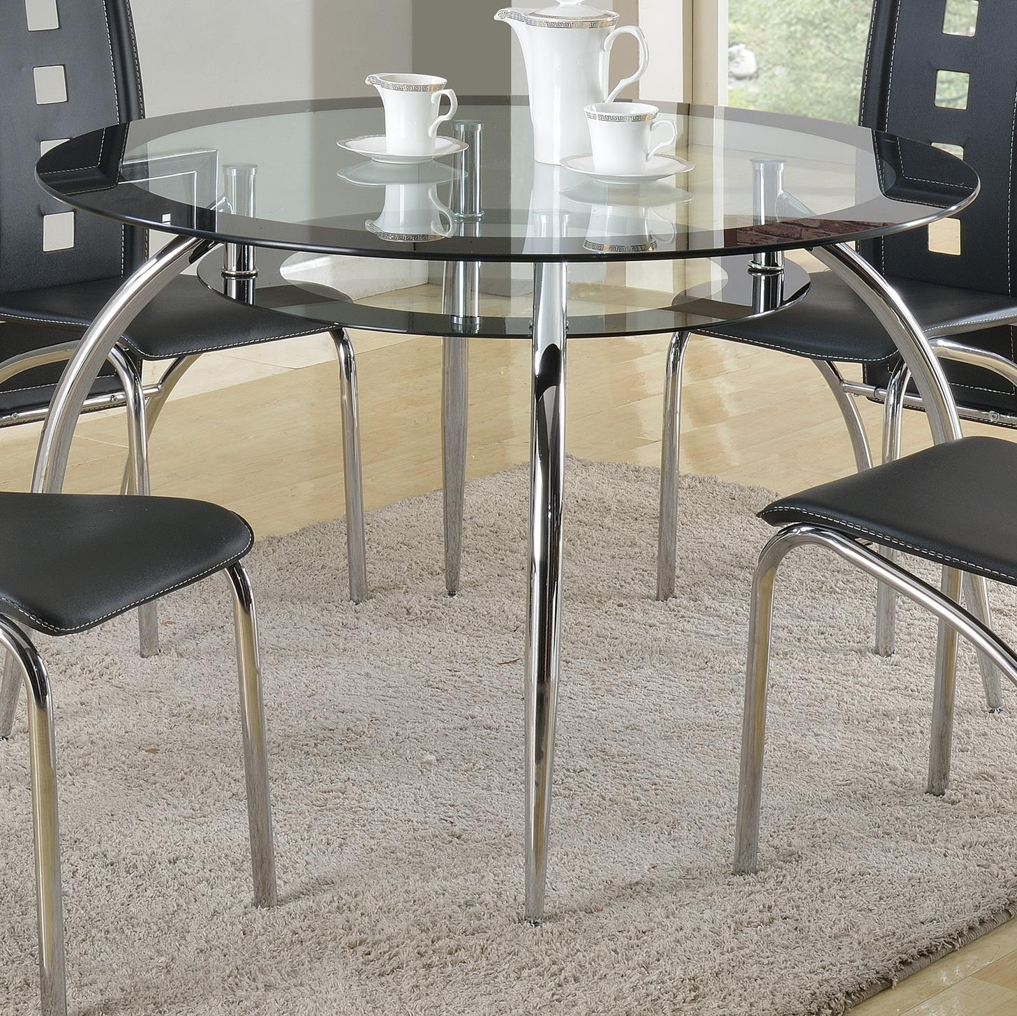 Modern Round Glass Dining Table Mila Round Glass Dining Table With Suspended Platform Under Table Top By Crown Mark At Household Furniture