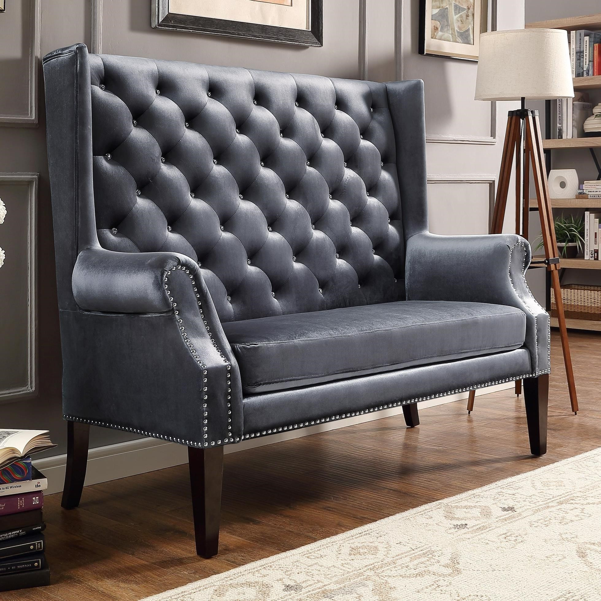 Settee Loveseat Odina Traditional Settee Loveseat With Winged Back And Jewel Tufting By Crown Mark At Royal Furniture