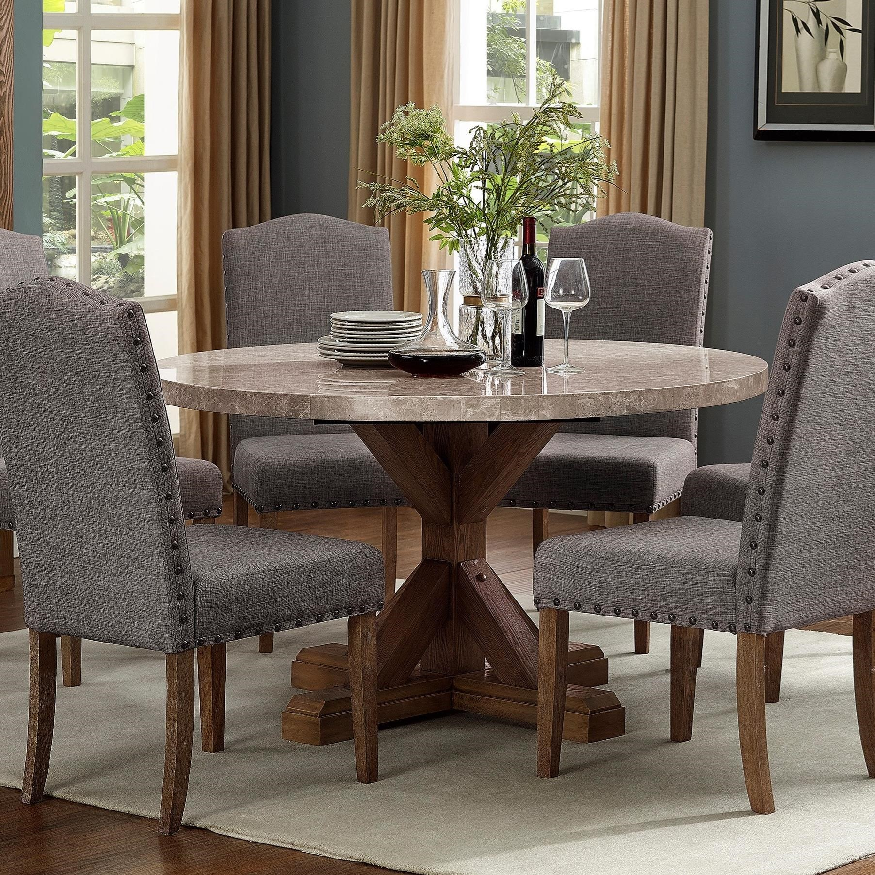 Small Dining Table Vesper Dining Round Dining Table With Pedestal Base By Crown Mark At Dunk Bright Furniture