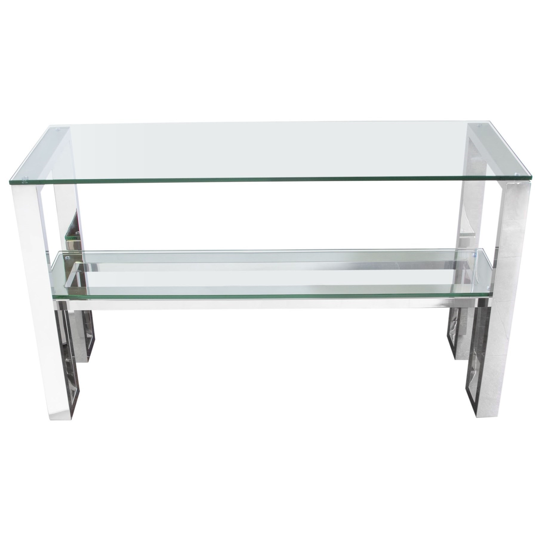 Glass Top Console Table Carlsbad Console Table With Clear Glass Top And Stainless Steel Frame By Diamond Sofa At Boulevard Home Furnishings