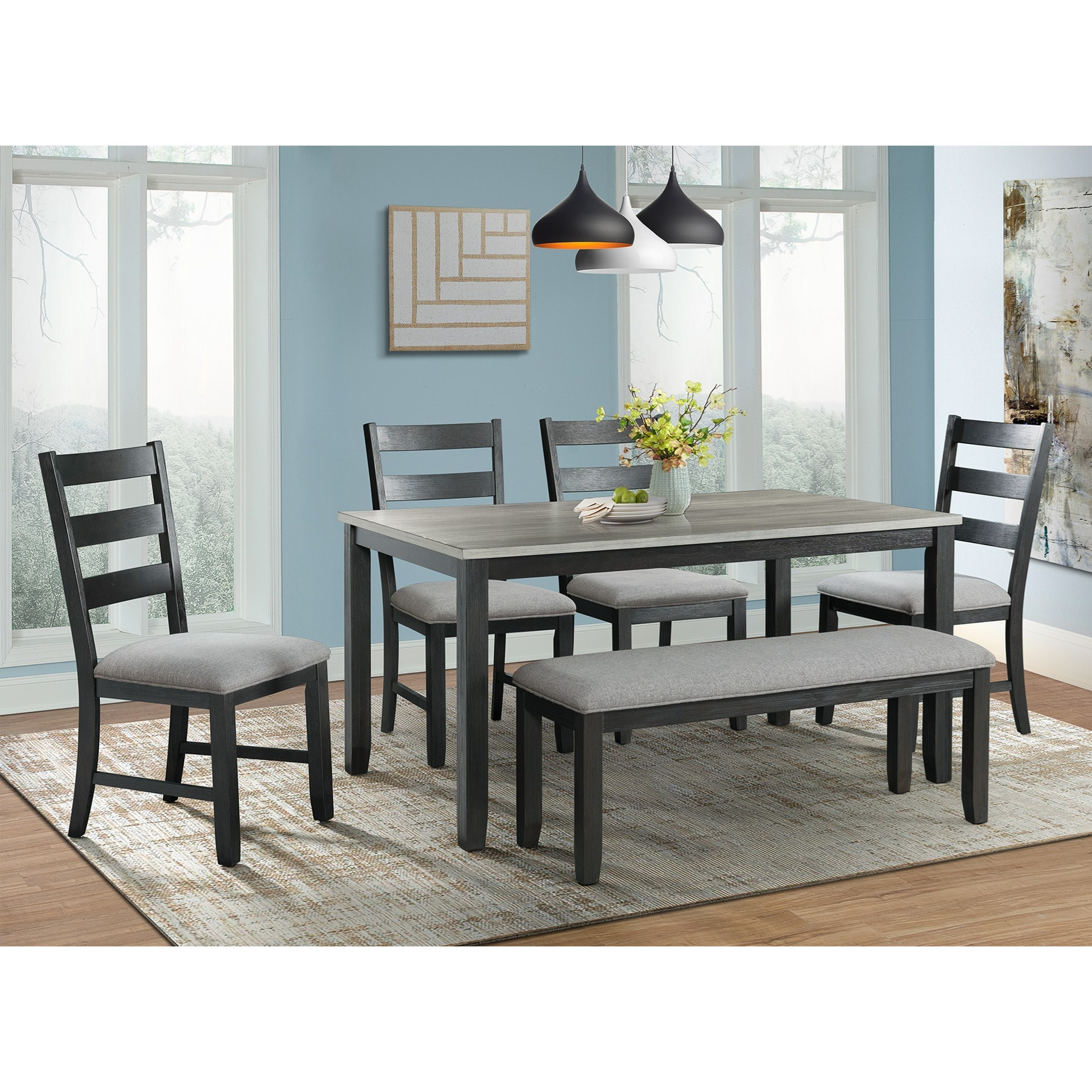 Elements Martin Rustic Dining Table Set With Bench Royal Furniture Table Chair Set With Bench