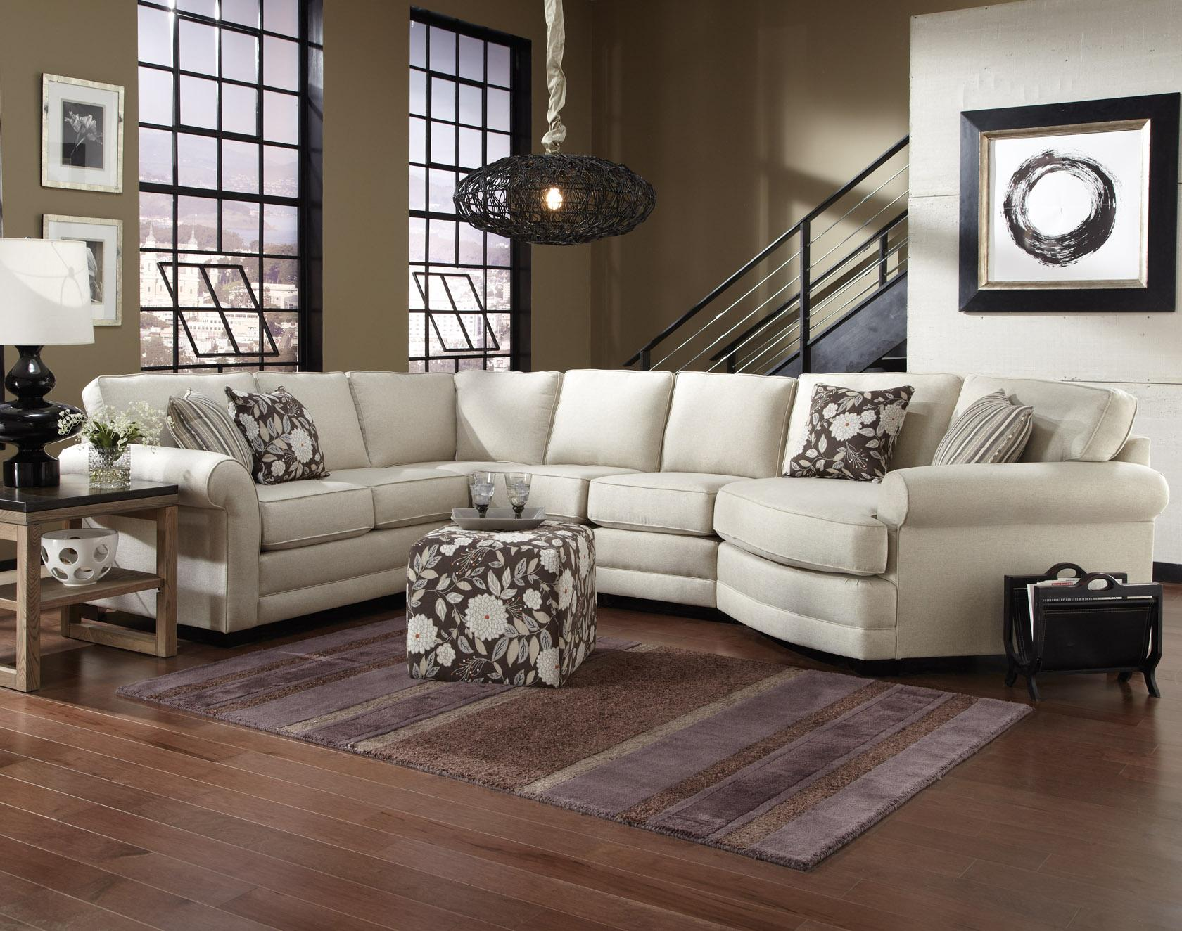 Grey Half Couch England Brantley 5 Seat Sectional Sofa With Cuddler
