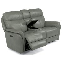 Flexsteel Zoey Power Reclining Loveseat with Console ...