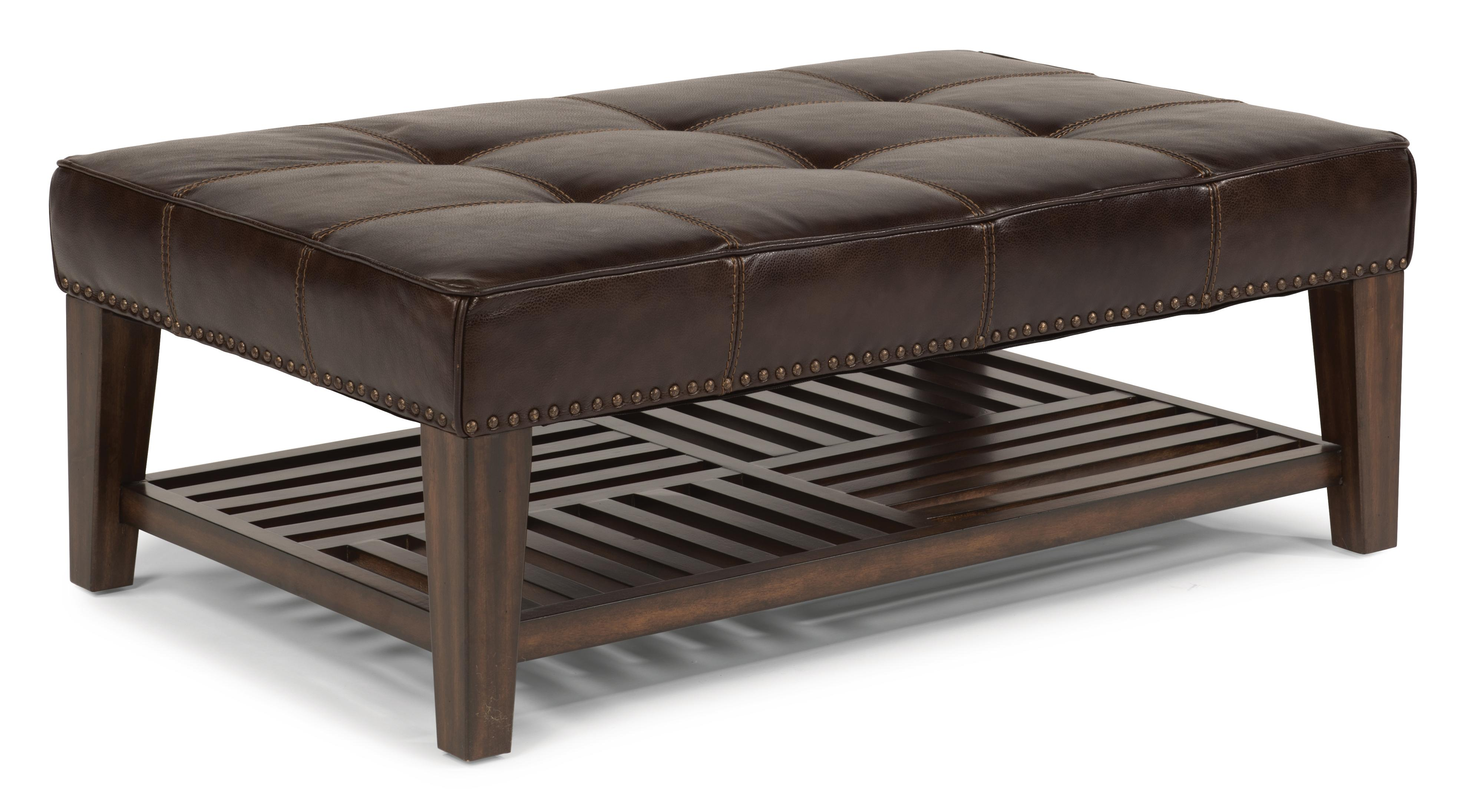 Ottoman Upholstery Latitudes Port Royal Upholstered Cocktail Ottoman With Wood Shelf And Nailhead Trim By Flexsteel At Olinde S Furniture