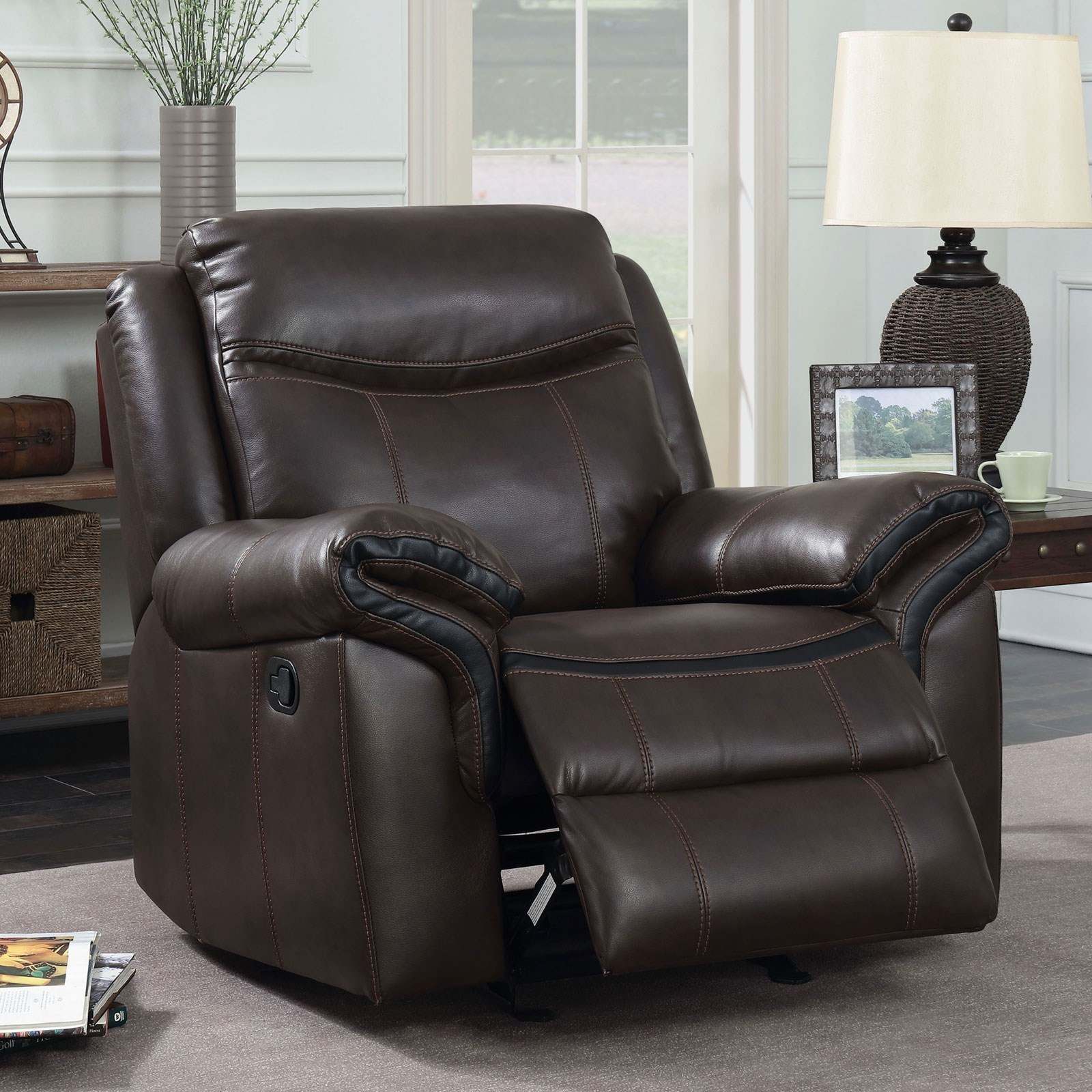Recliner Pillow Chenai Glider Recliner With Pillow Arms And Padded Headrest By Furniture Of America At Rooms For Less