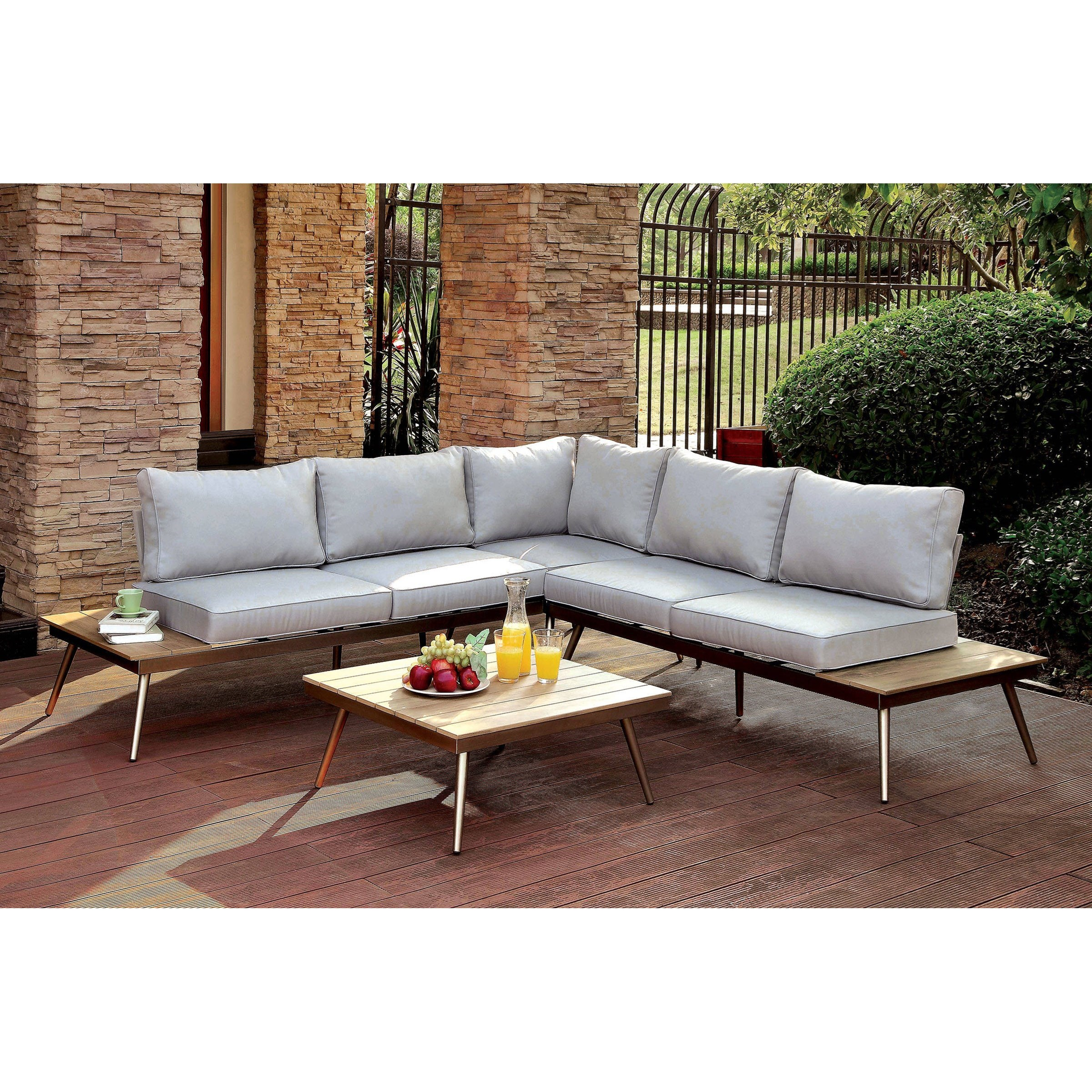 Sofa Olx Jsr Evita 3 Piece Mid Century Modern Patio Sectional Sofa With Built In End Tables By America At Del Sol Furniture