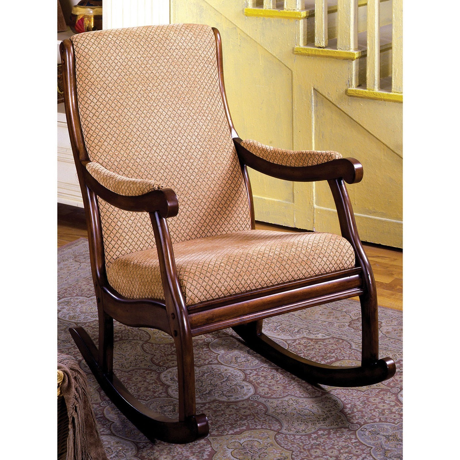 Furniture Of America Liverpool Traditional Rocking Chair With Scrolled Wood Arms Dream Home Interiors Upholstered Rockers