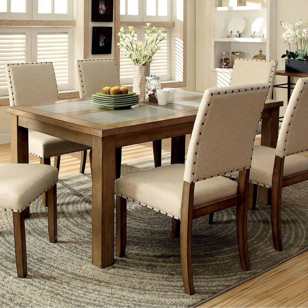 Concrete Rooms Melston I Dining Table With Concrete Like Inserts By Furniture Of America At Rooms For Less