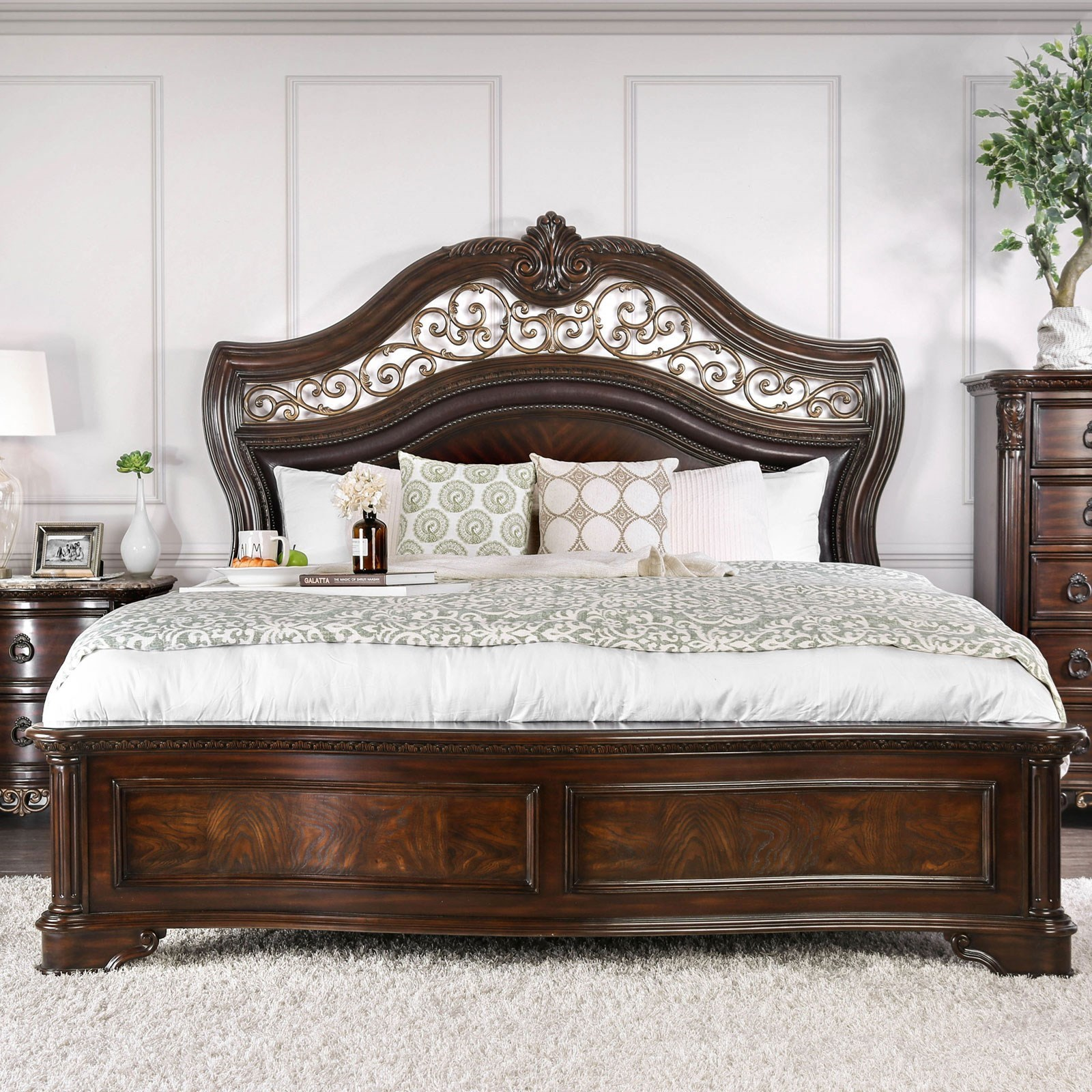 Menodora California King Bed Household Furniture Panel Beds