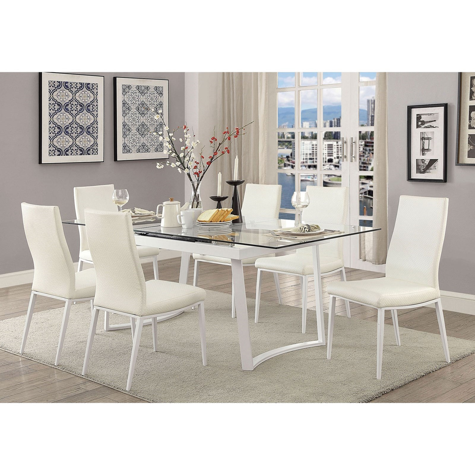 Modern Dining Set Miriam Contemporary Table 6 Side Chairs By Furniture Of America At Rooms For Less