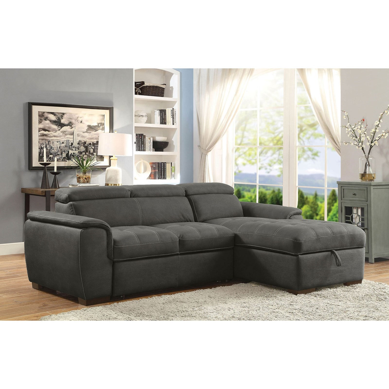 Sectional Pull Out Couch Patty Sofa Sectional With Pull Out Sleeper And Storage By Furniture Of America At Rooms For Less