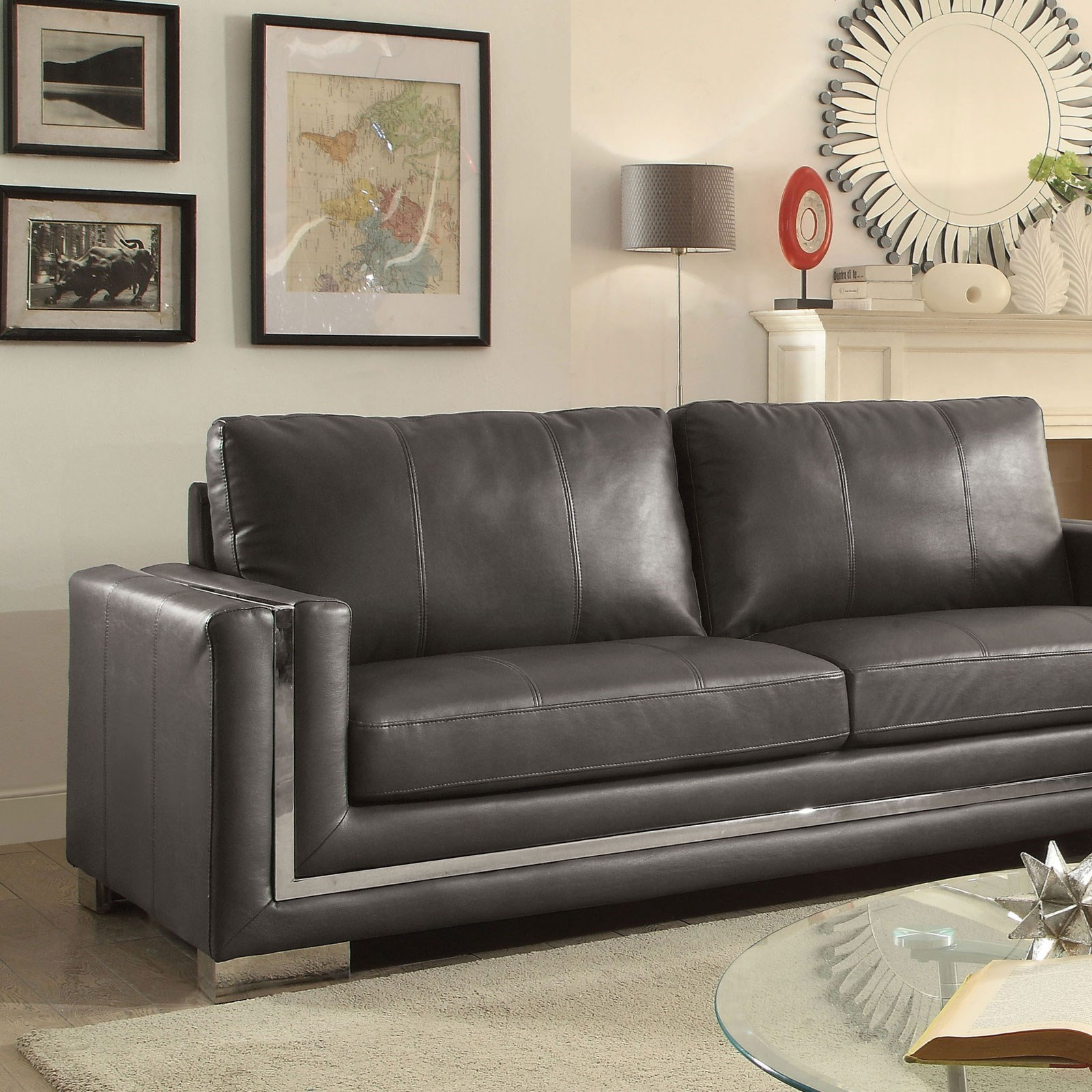 Contemporary Couch Perla Contemporary Sofa With Stainless Steel Trim By Furniture Of America At Rooms For Less