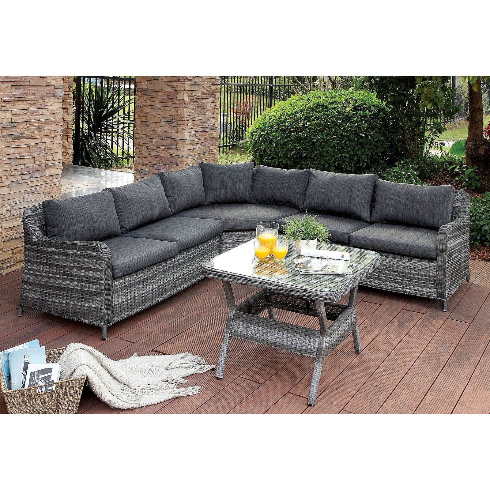 Square Sofa Selina Outdoor Two Tone Wicker Sectional Sofa With Square Glass Top Table Set By Furniture Of America At Rooms For Less