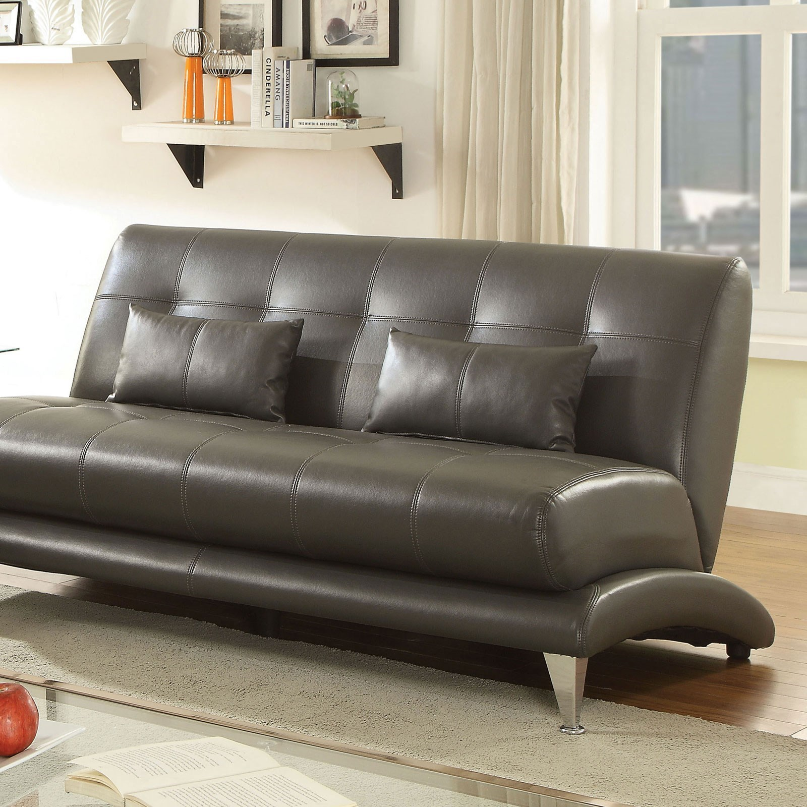 Contemporary Couch Sherri Contemporary Tufted Sofa With Pillows By Furniture Of America At Rooms For Less