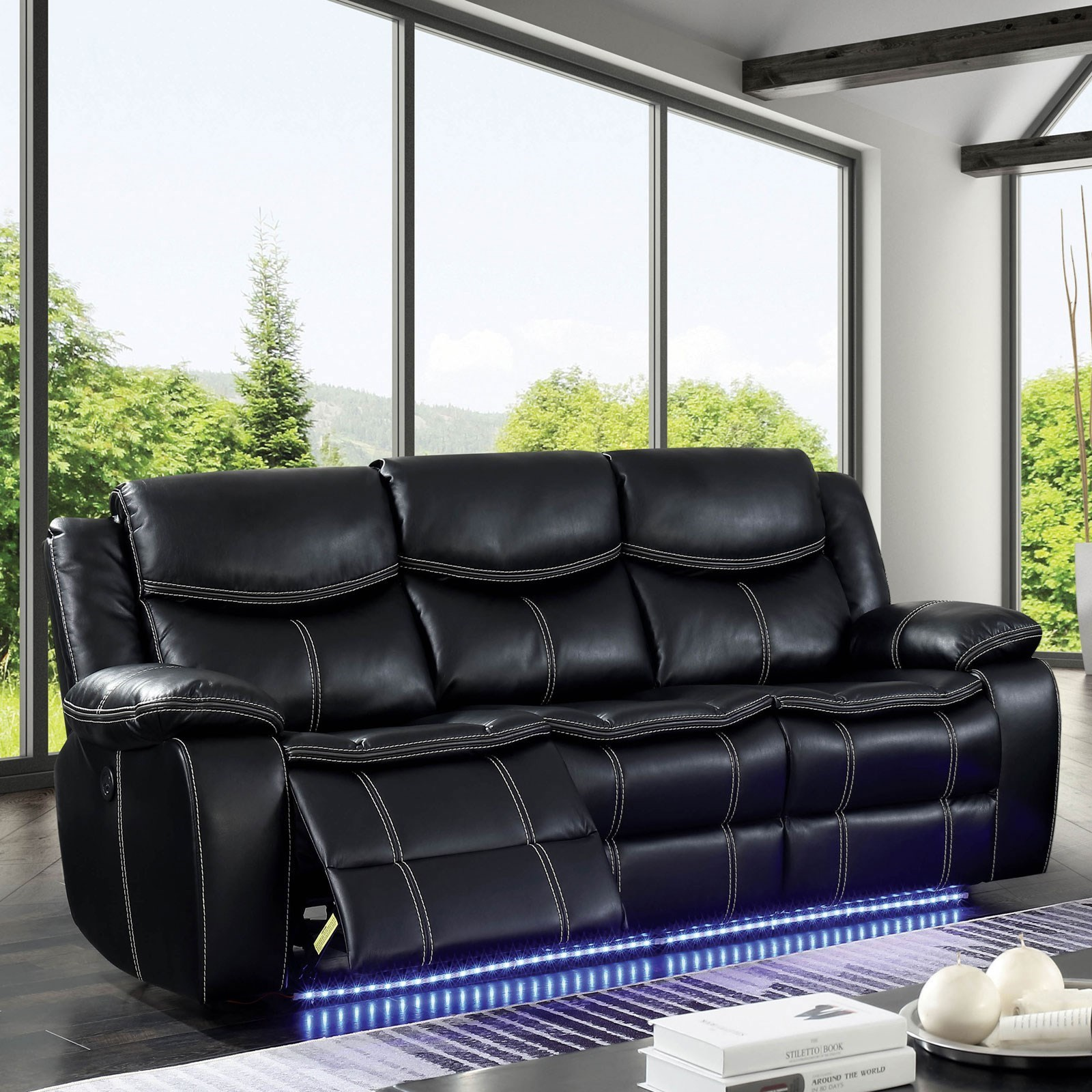 Sofa Led Sirius Contemporary Power Reclining Sofa With Led Lighting By Furniture Of America At Rooms For Less