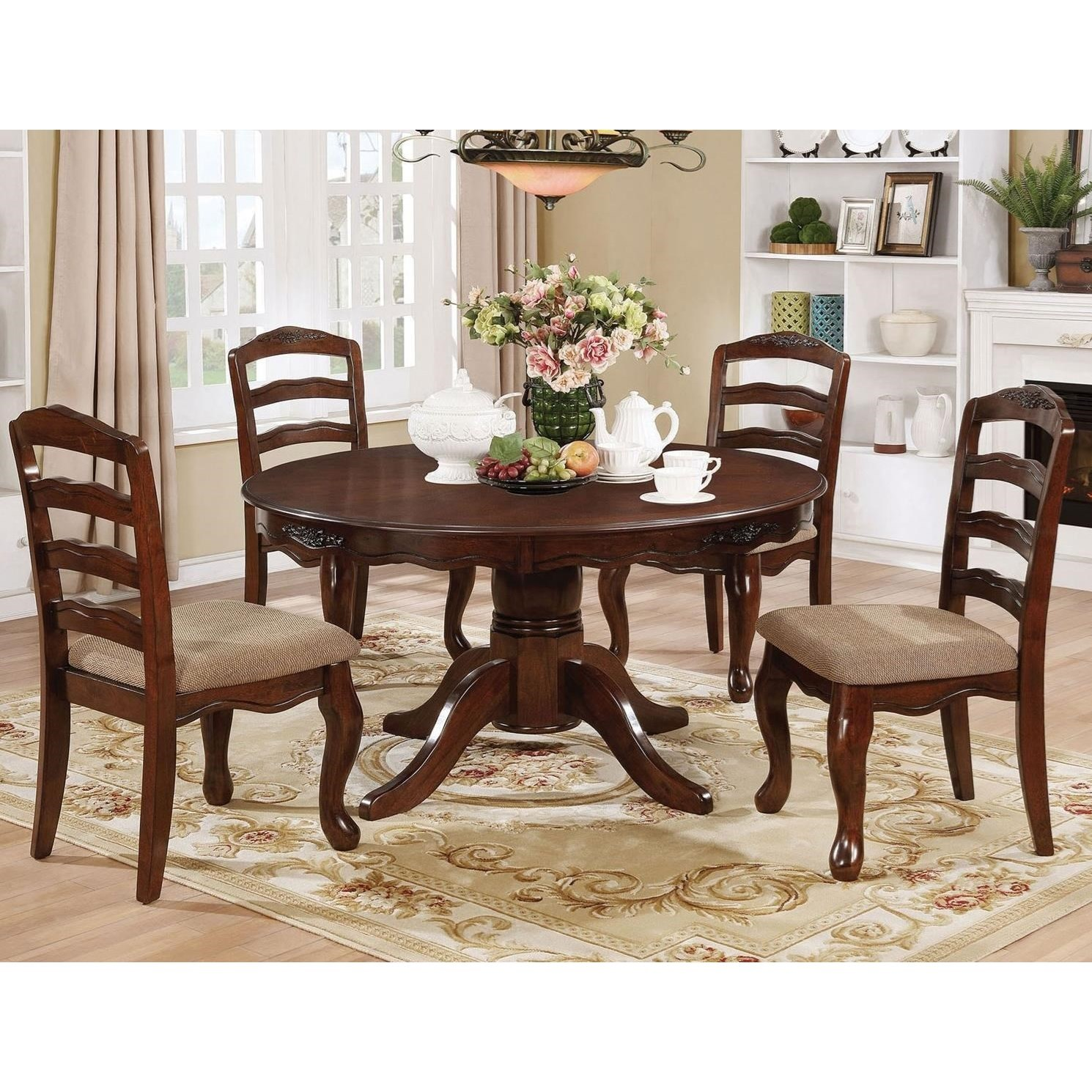 Furniture Of America Townsville Cm3109t 5pc Traditional 5 Piece Dining Set With Round Table Corner Furniture Dining 5 Piece Sets - Outdoor Furniture Clearance Townsville