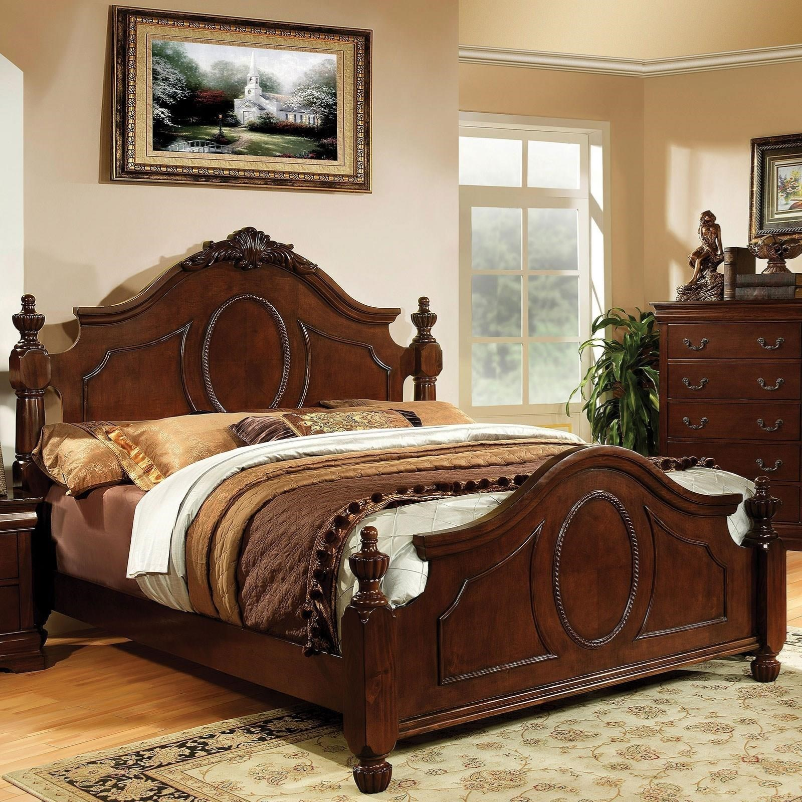 King Bed With Posts Velda Ii Traditional California King Size Bed With Decorative Carved Headboard And Posts By Furniture Of America At Rooms For Less