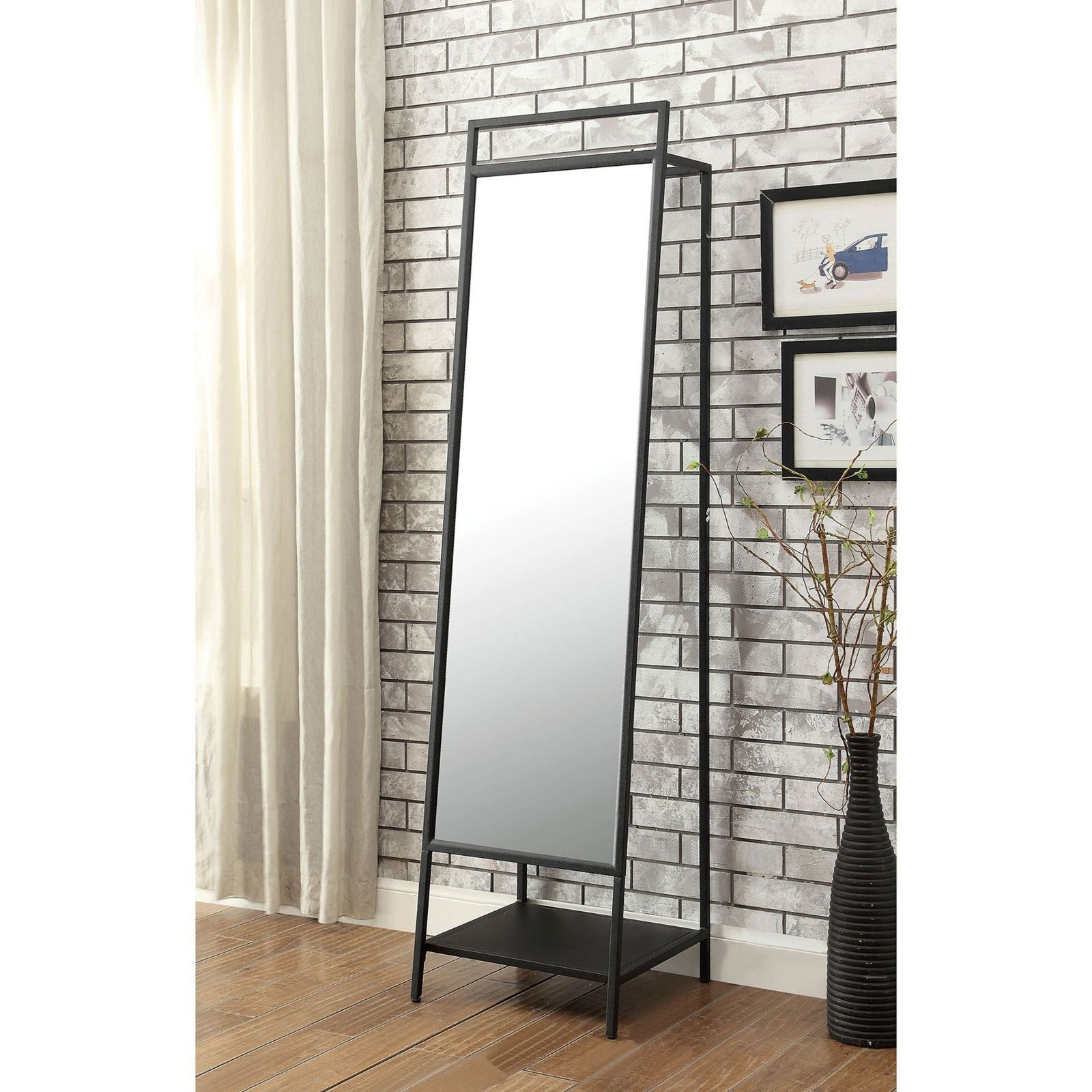 Standing Mirror Venus Contemporary Standing Mirror With Shelf By Furniture Of America At Del Sol Furniture