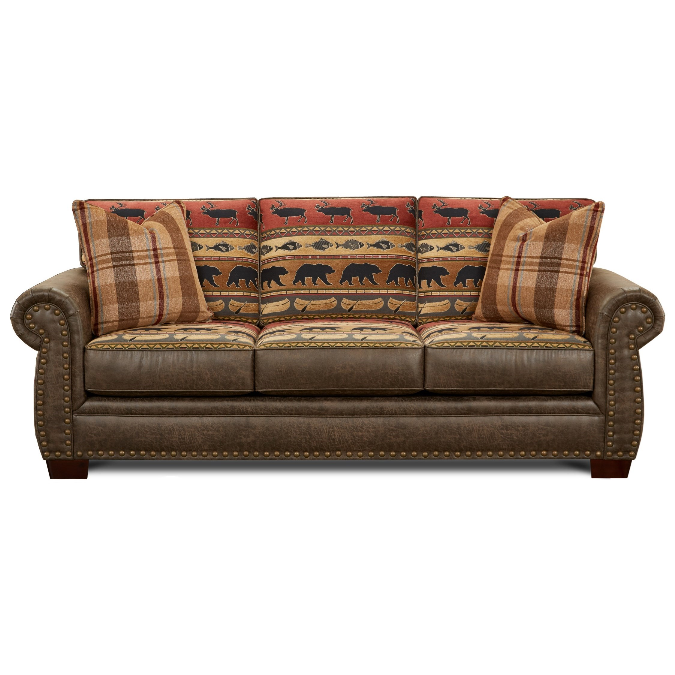 Fusion Furniture 22 00 Fabric Faux Leather Sofa With Wildlife Motif Howell Furniture Sofas