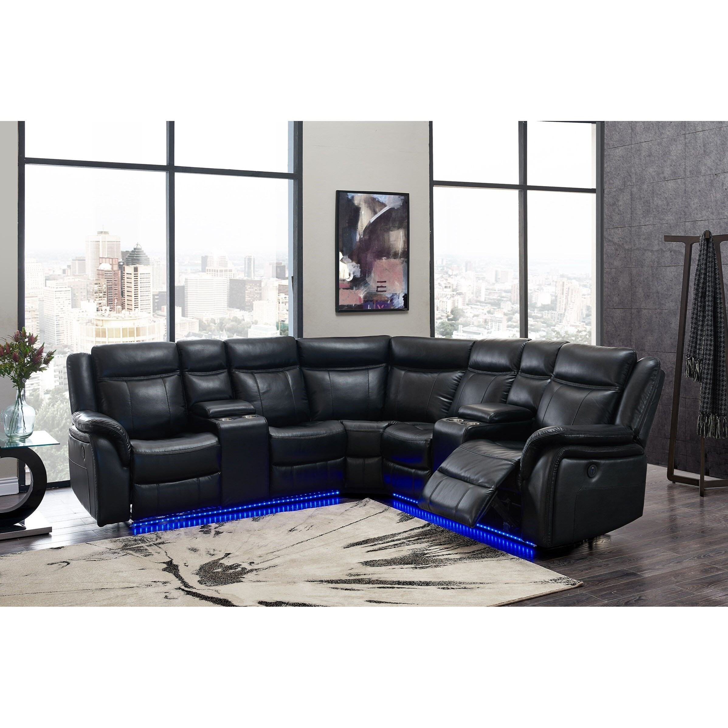 Global Furniture Um02 Casual Power Reclining Sectional Sofa With Storage Console Cup Holders And Led Lighting Value City Furniture Sectional Sofas