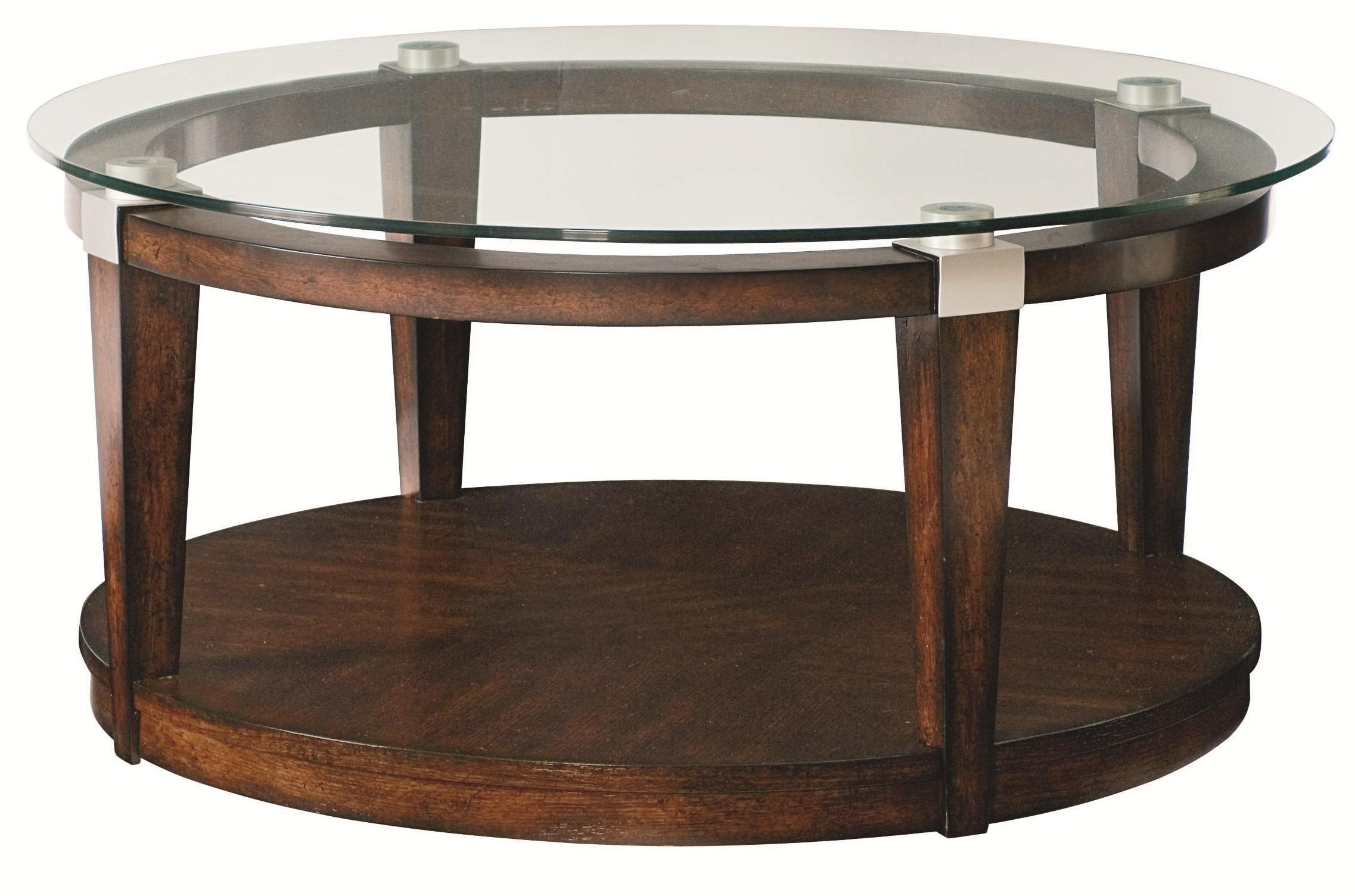 Round Glass Top Coffee Table Solitaire Contemporary Round Coffee Table With Glass Top By Hammary At Wayside Furniture