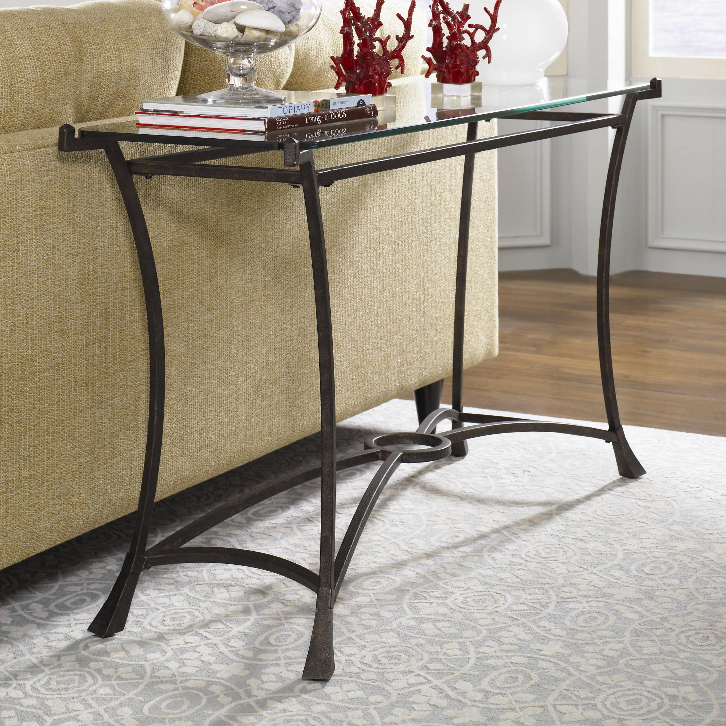 Metal Glass End Tables Sutton Contemporary Metal Sofa Table With Glass Top By Hammary At Darvin Furniture