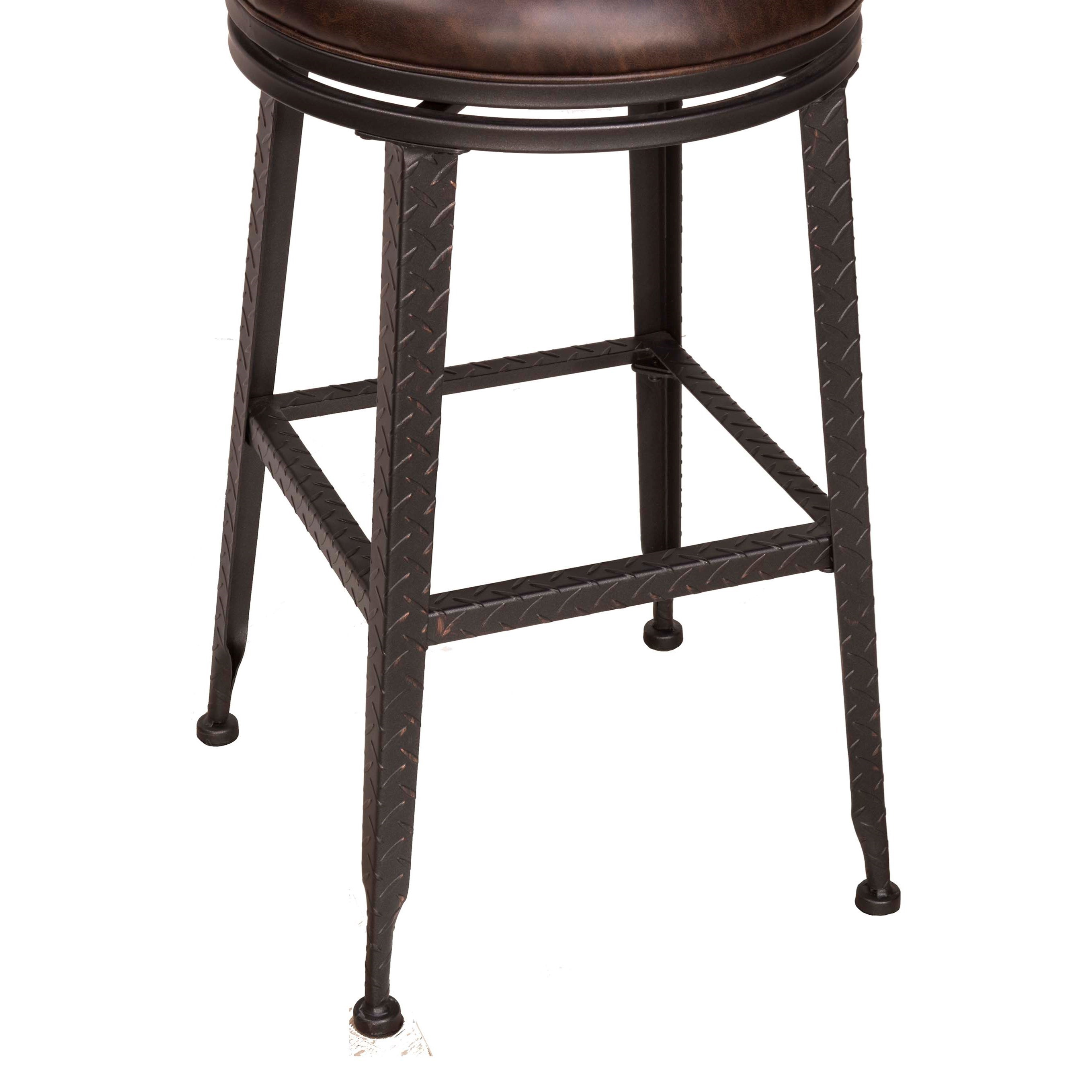 Hillsdale Backless Bar Stools Black Metal With Copper Highlights Backless Swivel Counter Stool - Backless Stools