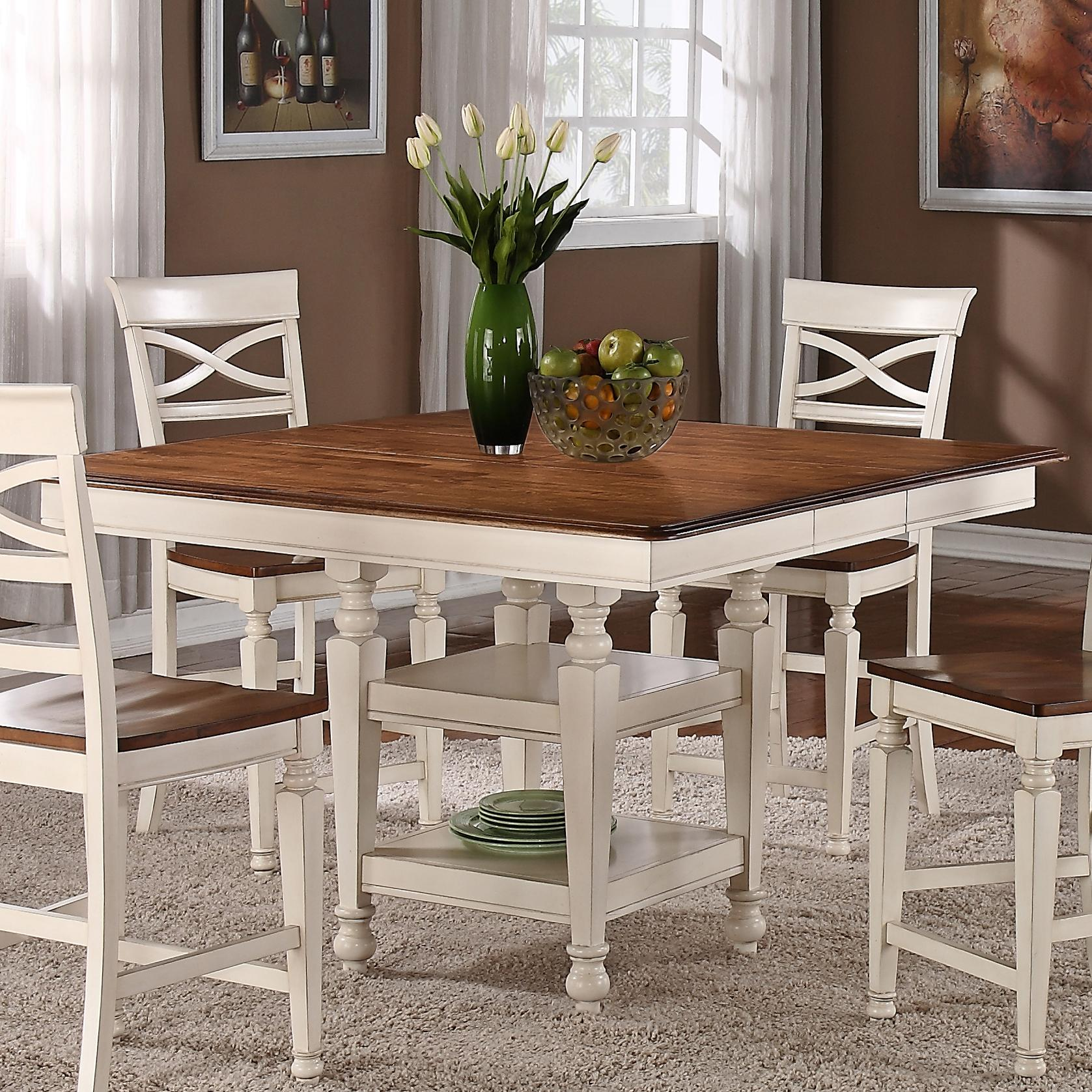 item counter height kitchen table Holland House Dining Square Top Counter Height Dining Table with Srorage Pedestal Base and 12 Butterfly Leaf