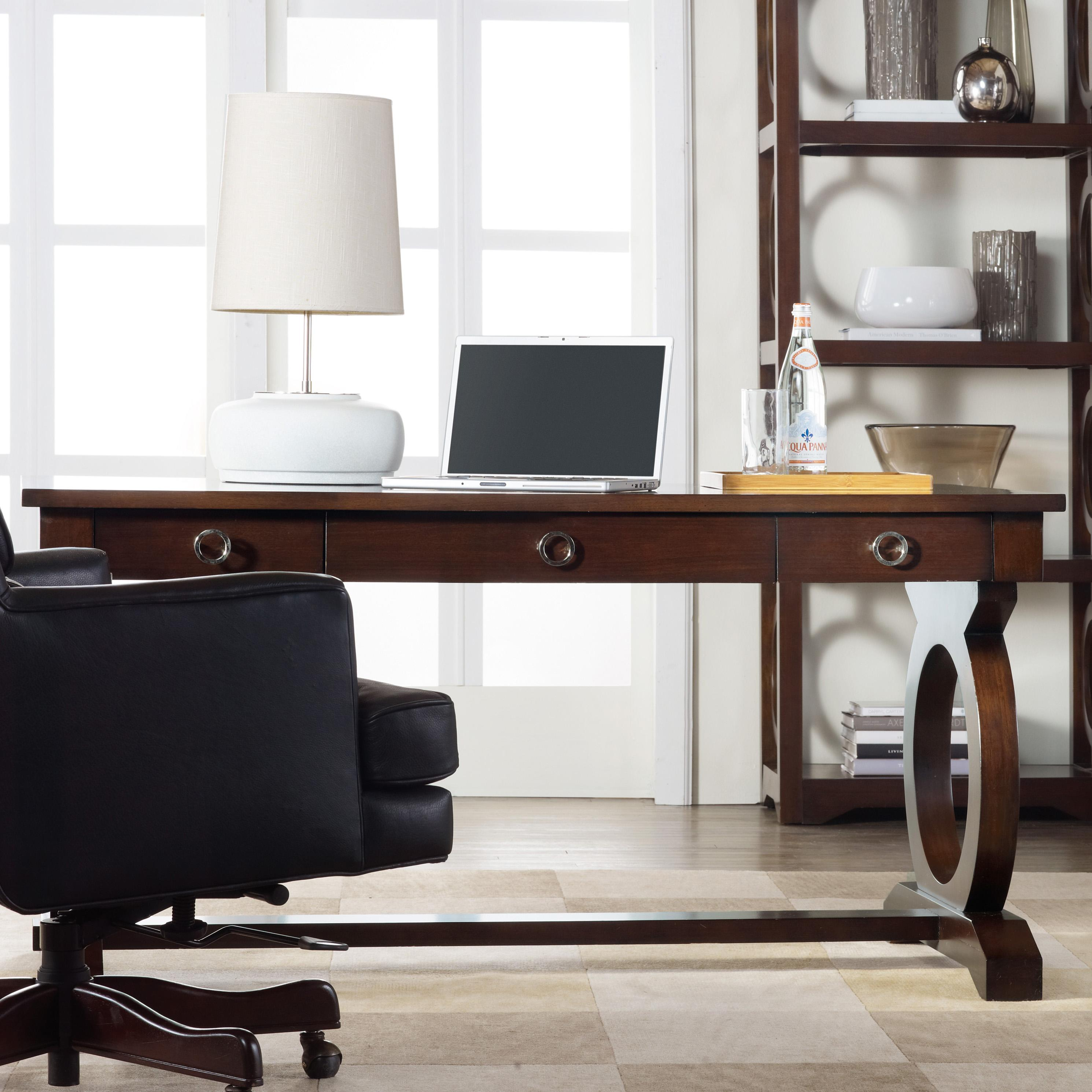 Office Furniture Hamilton Kinsey Contemporary Writing Desk With Drop Front Keyboard Drawer And Open Circle Fretwork By Hamilton Home At Rotmans