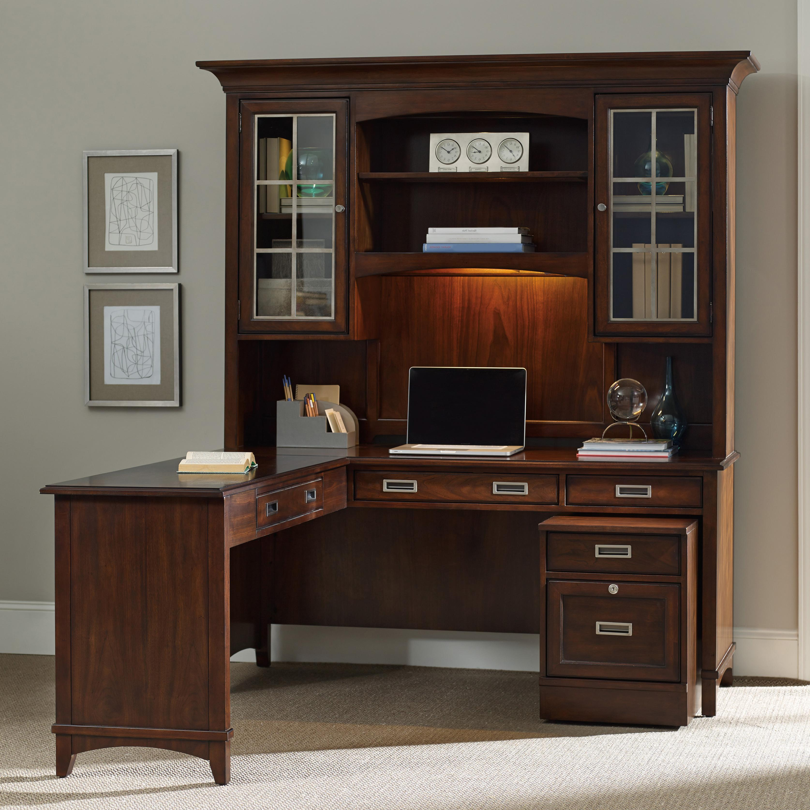 Rolling Filing Cabinets Latitude Walnut L Shaped Desk And Hutch Set With Rolling Filing Cabinet By Hamilton Home At Rotmans