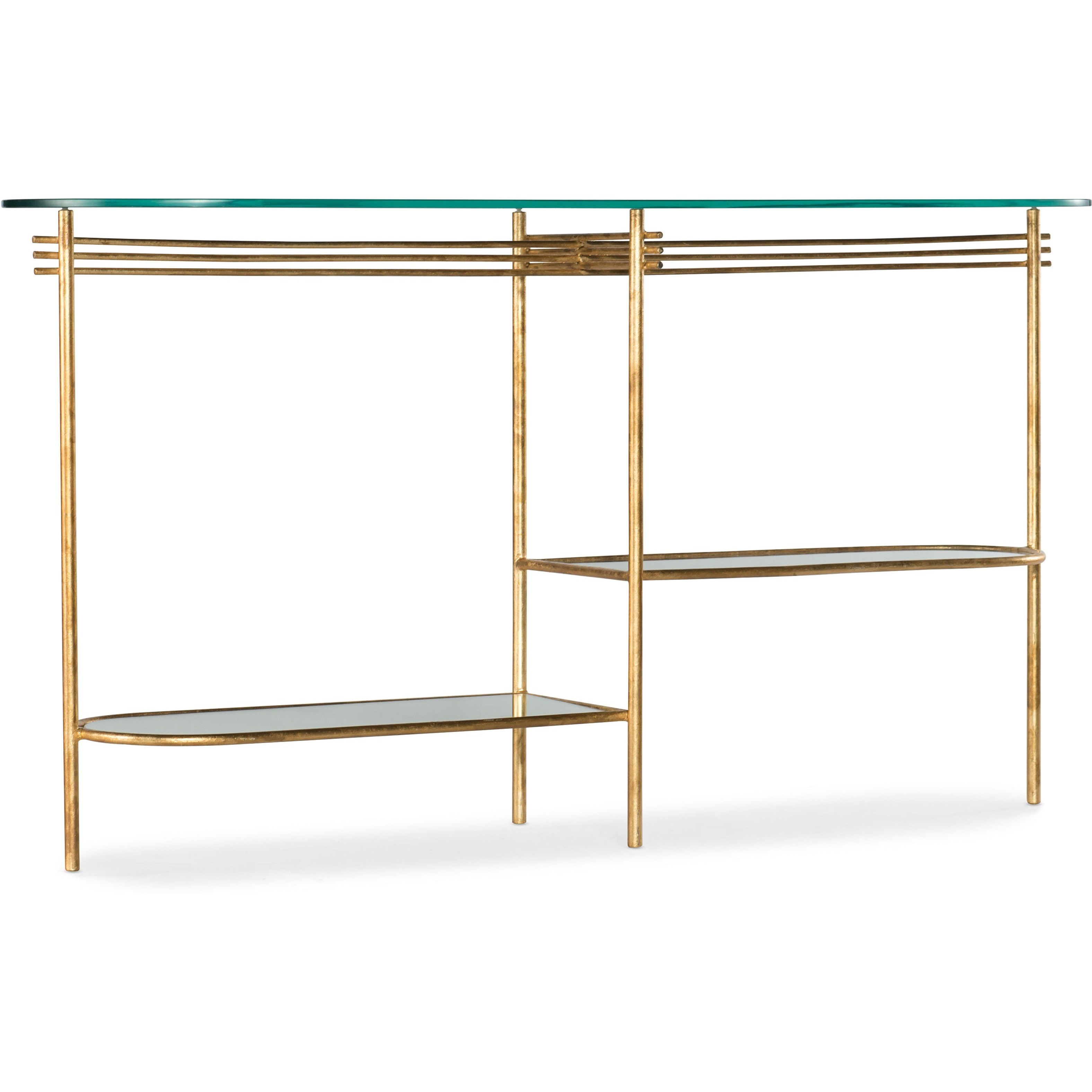 Glass Top Console Table Well Balanced Contemporary Round 2 Shelf Glass Top Console Table By Hooker Furniture At Belfort Furniture