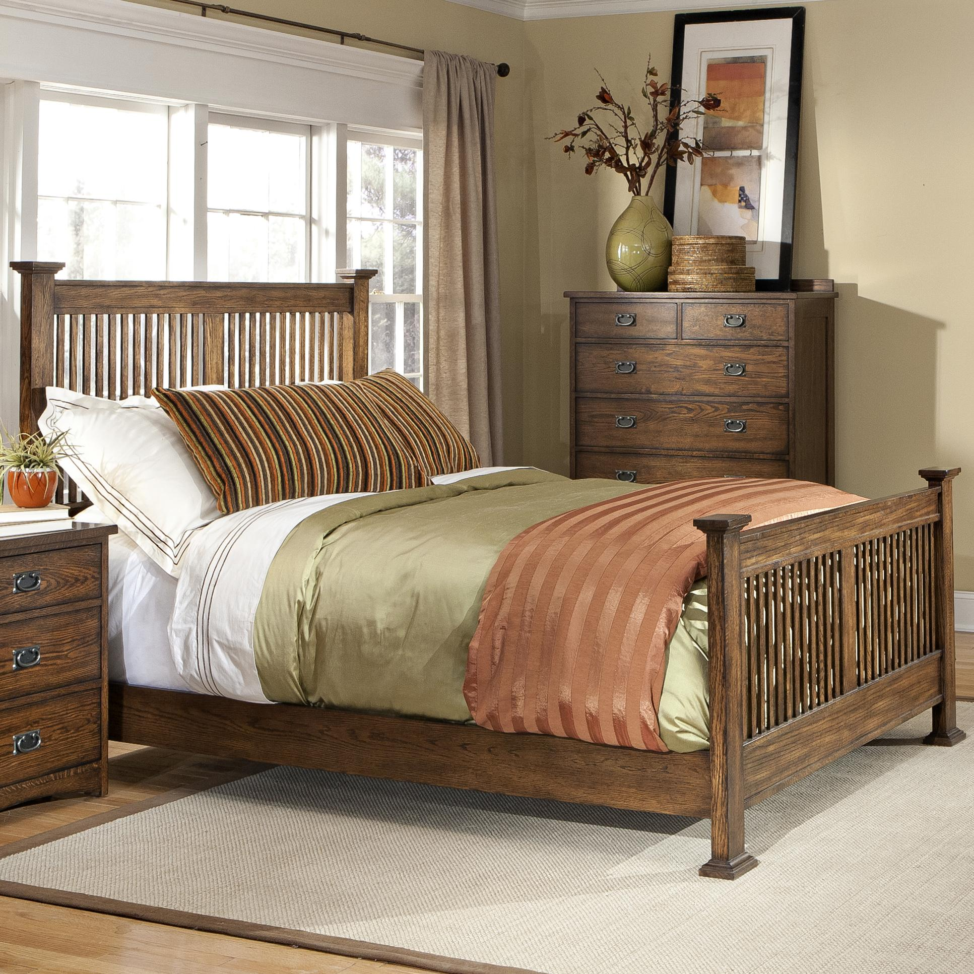 Vfm Signature Oak Park California King Panel Bed With Slat Headboard And Footboard Virginia Furniture Market Panel Beds