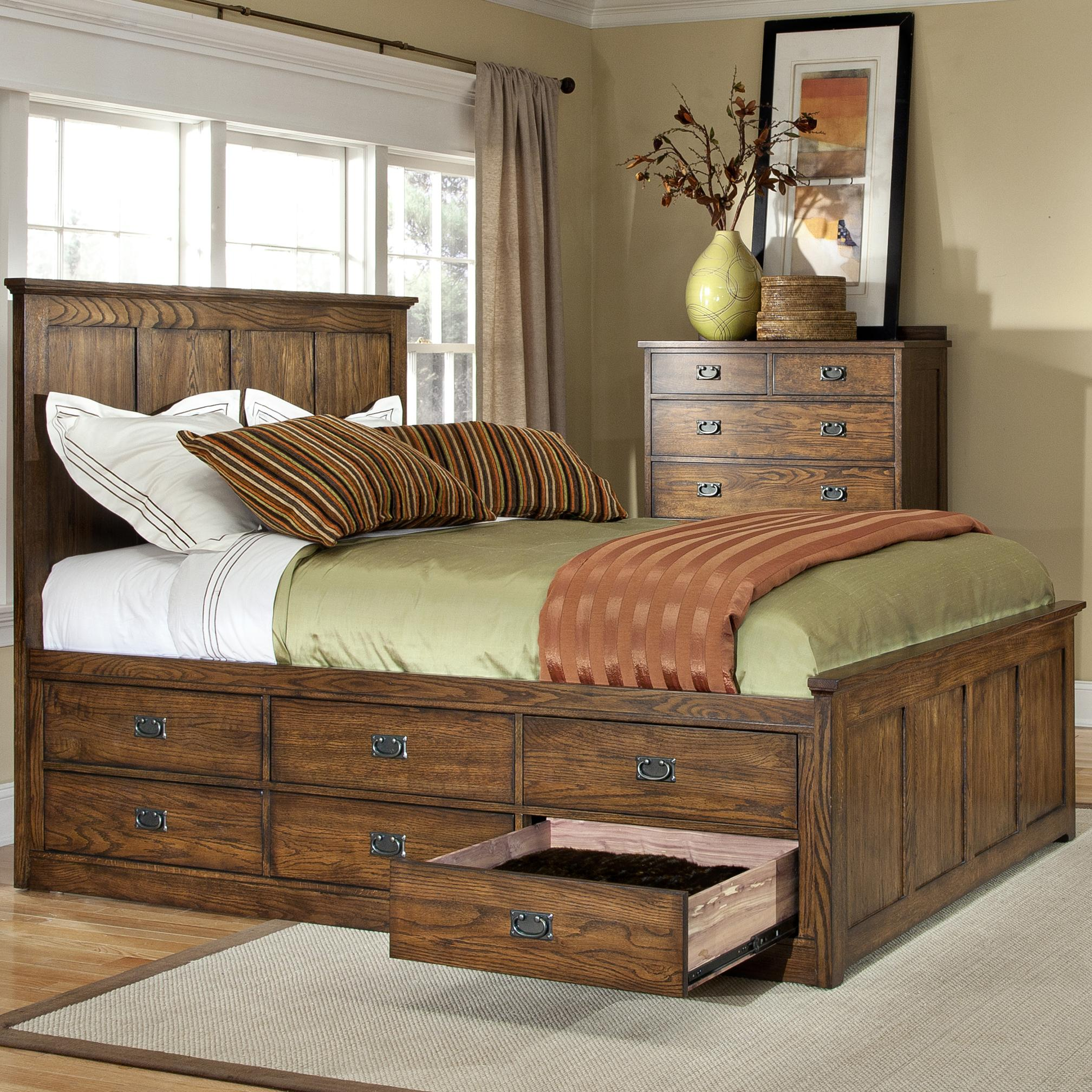 Under Bed Storage Frame Oak Park Mission Queen Bed With 9 Underbed Storage Drawers By Intercon At Furniture Options New York