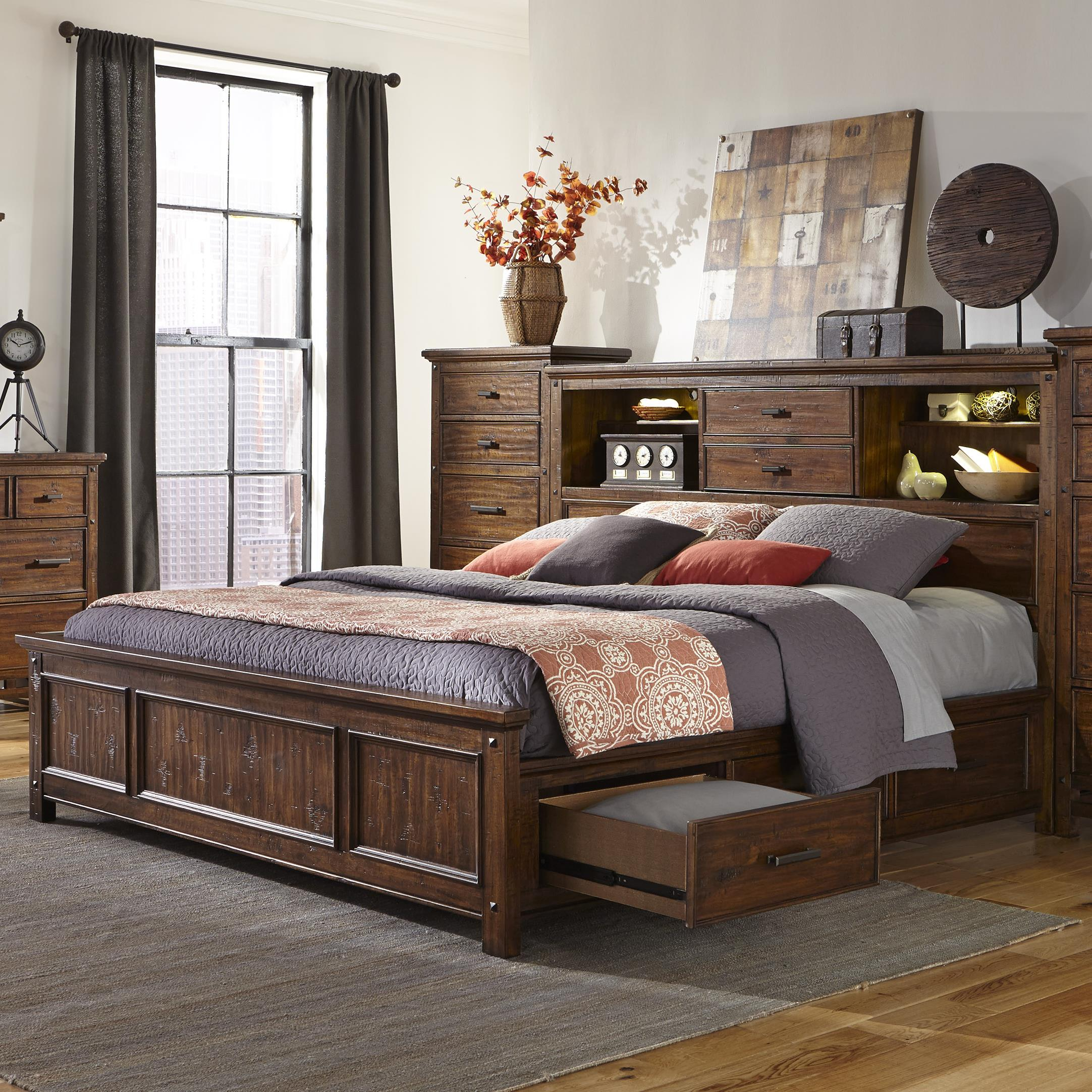 Bookcase Bed Wolf Creek King Bookcase Bed With Storage Rails By Intercon At Fisher Home Furnishings