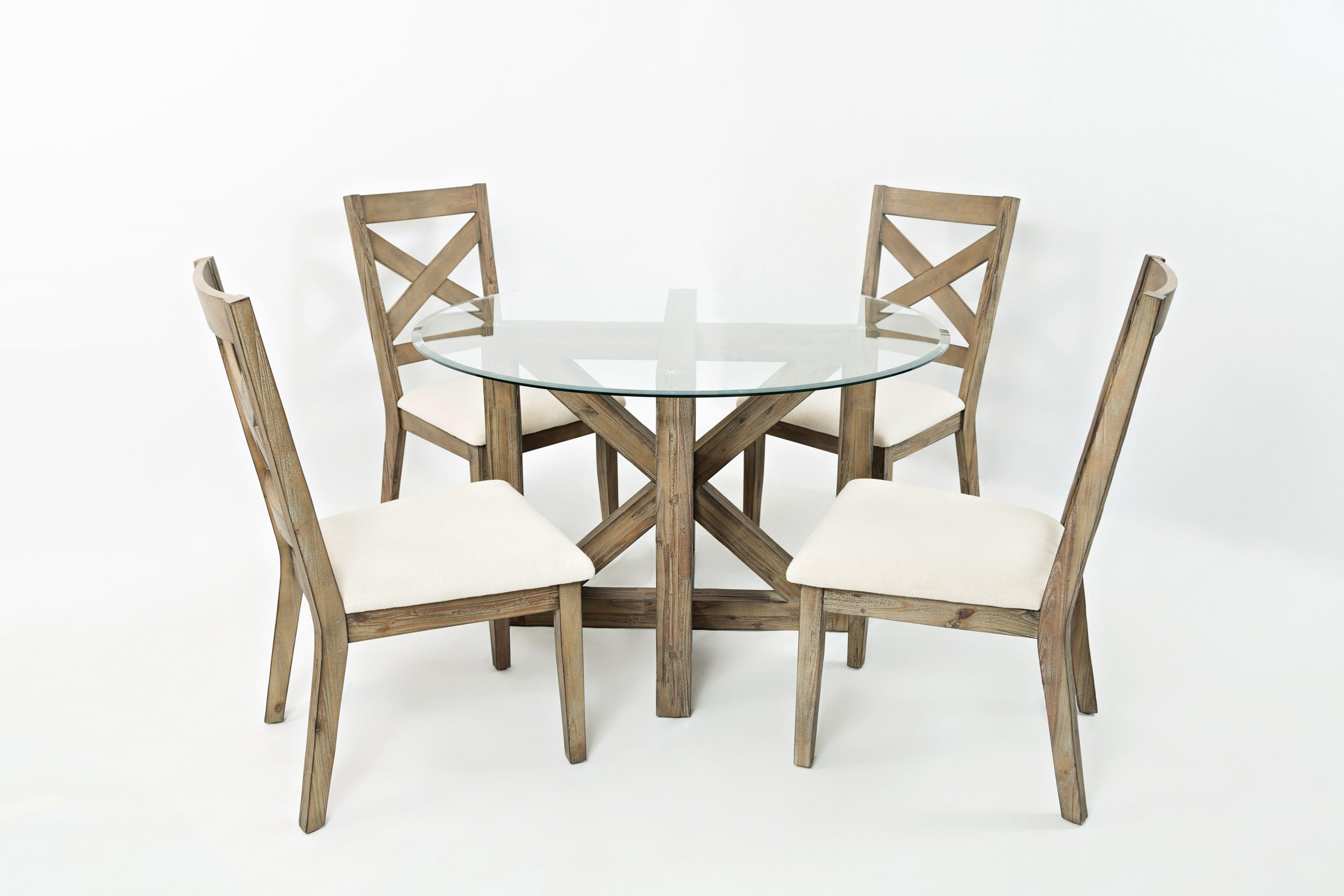 Round Glass Top Dining Table Hamden 5pc Round Glass Top Dining Table And Chair Set By Jofran At Rotmans