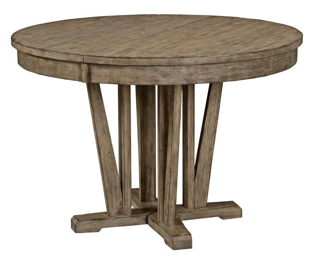 Round Dining Table With Extensions Foundry Rustic Round Weathered Gray Dining Table With Extension Leaf By Kincaid Furniture At Olinde S Furniture